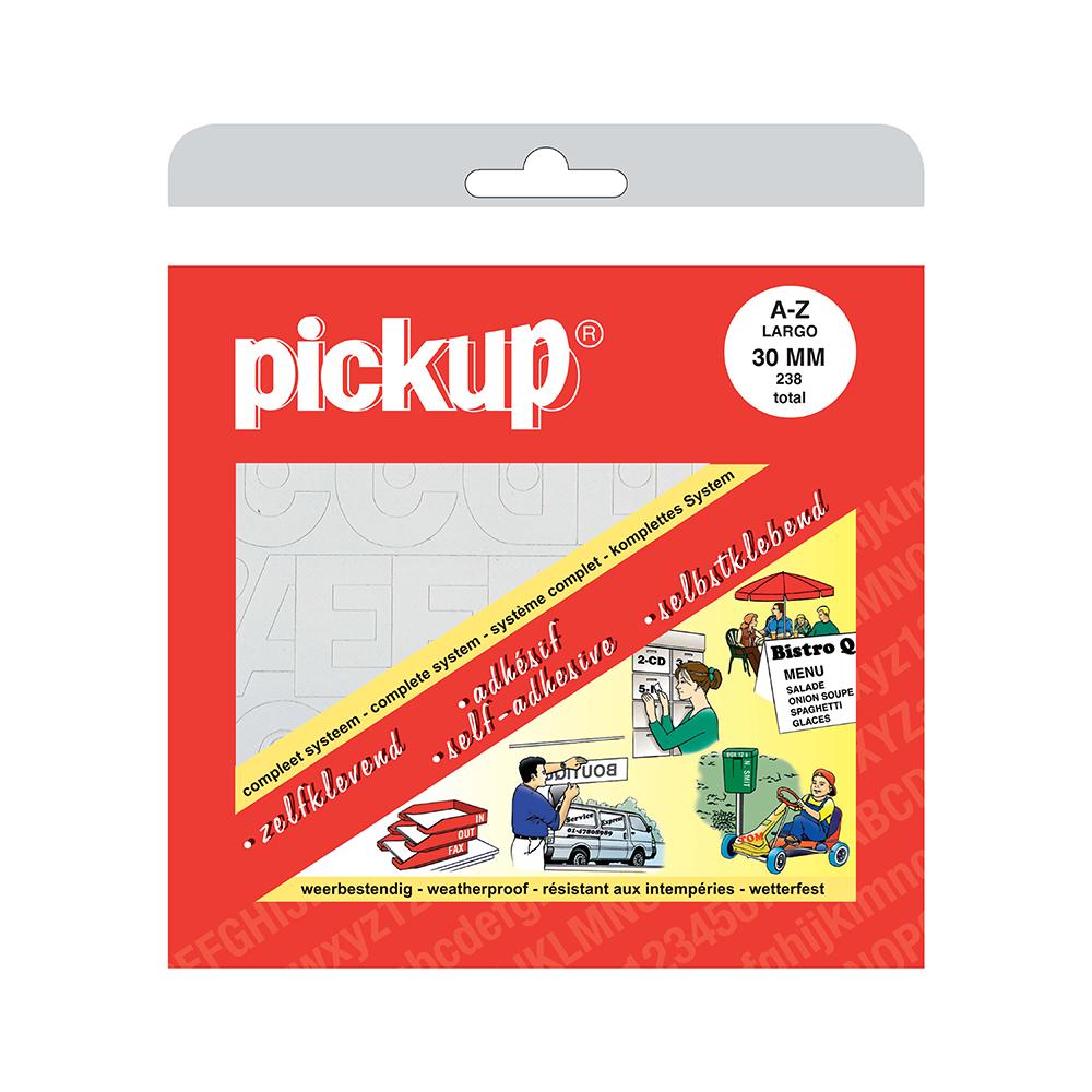 Pickup plakletters boekje Largo wit - 30 mm
