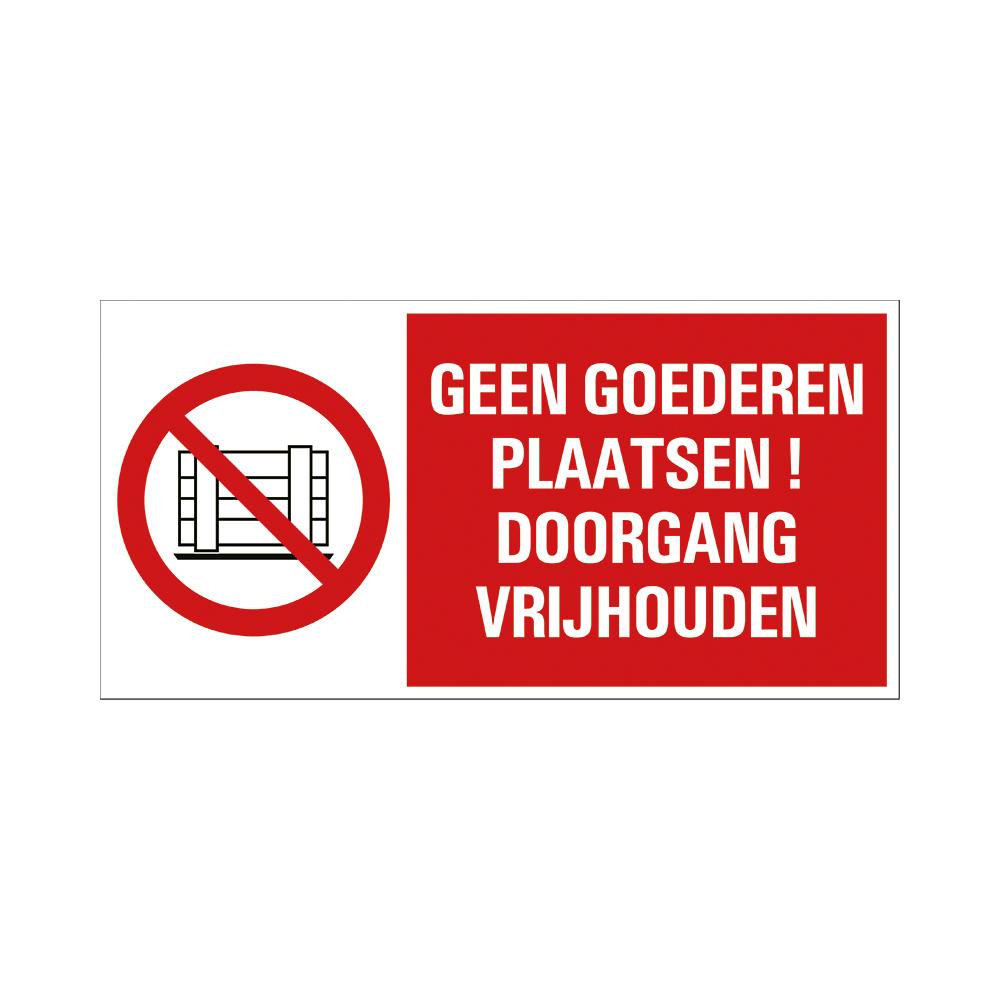 Bord 15x30cm Combinatie - Geen goederen plaatsen - conform ISO 7010