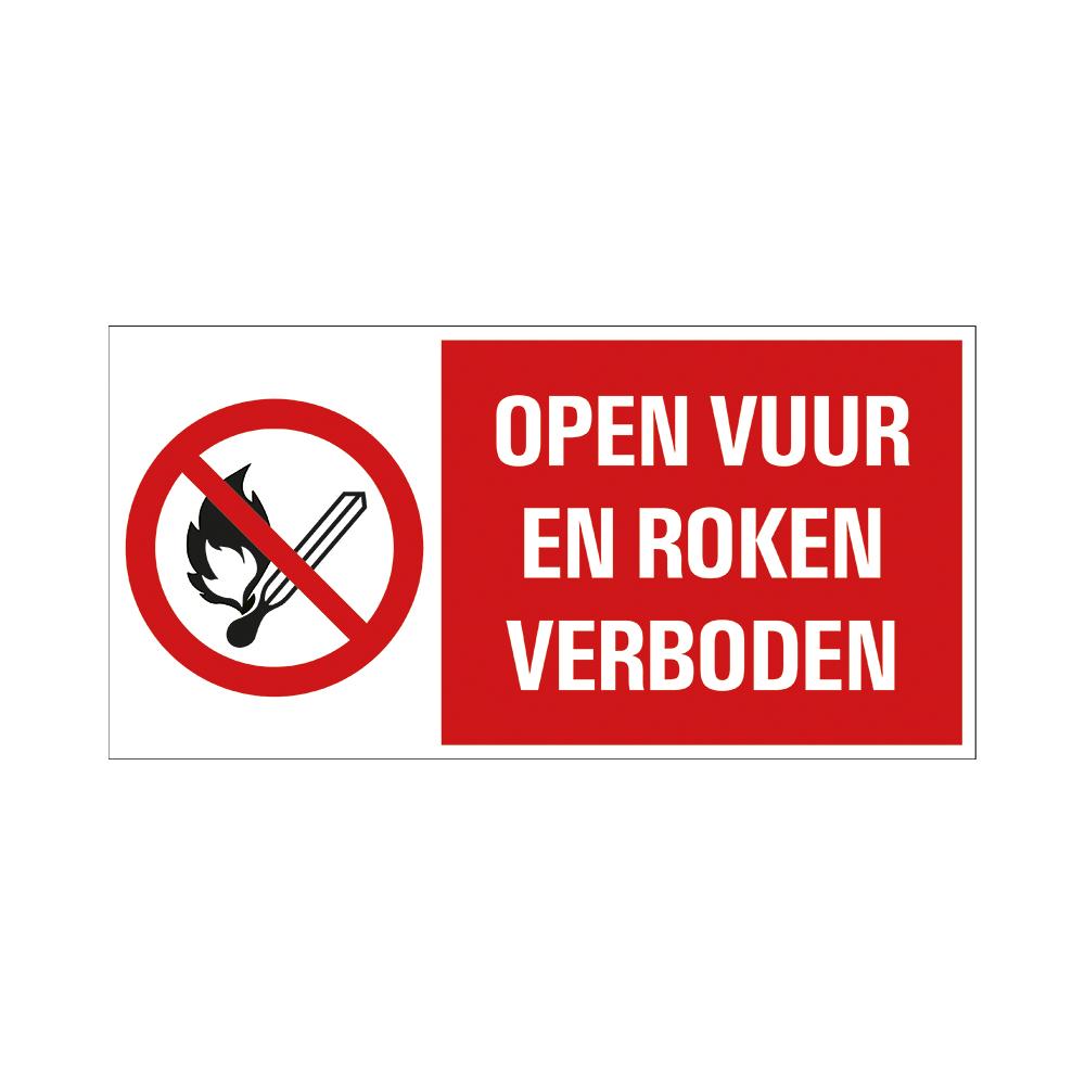 Bord 15x30cm Combinatie - Open vuur en roken verboden - conform ISO 7010