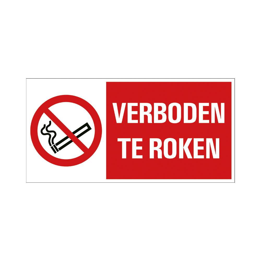 Bord 15x30cm Combinatie - Verboden te roken - conform ISO 7010
