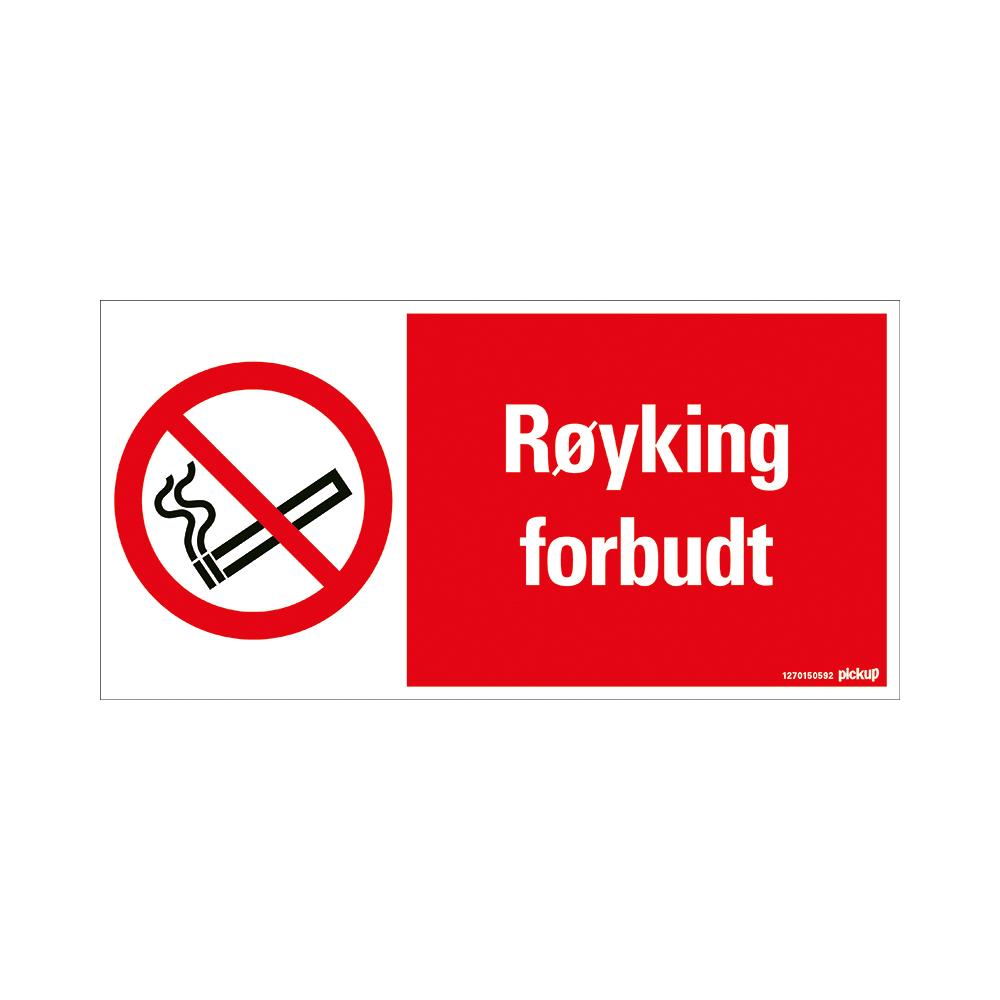 Pickup - RØYKING FORBUDT - conform NEN-EN-ISO 7010 bord 30x15 cm