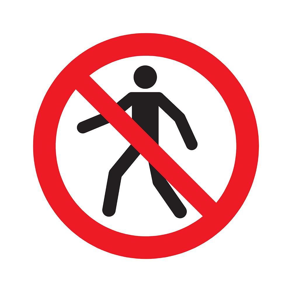 Bord rond 180 mm - Verboden voor voetgangers