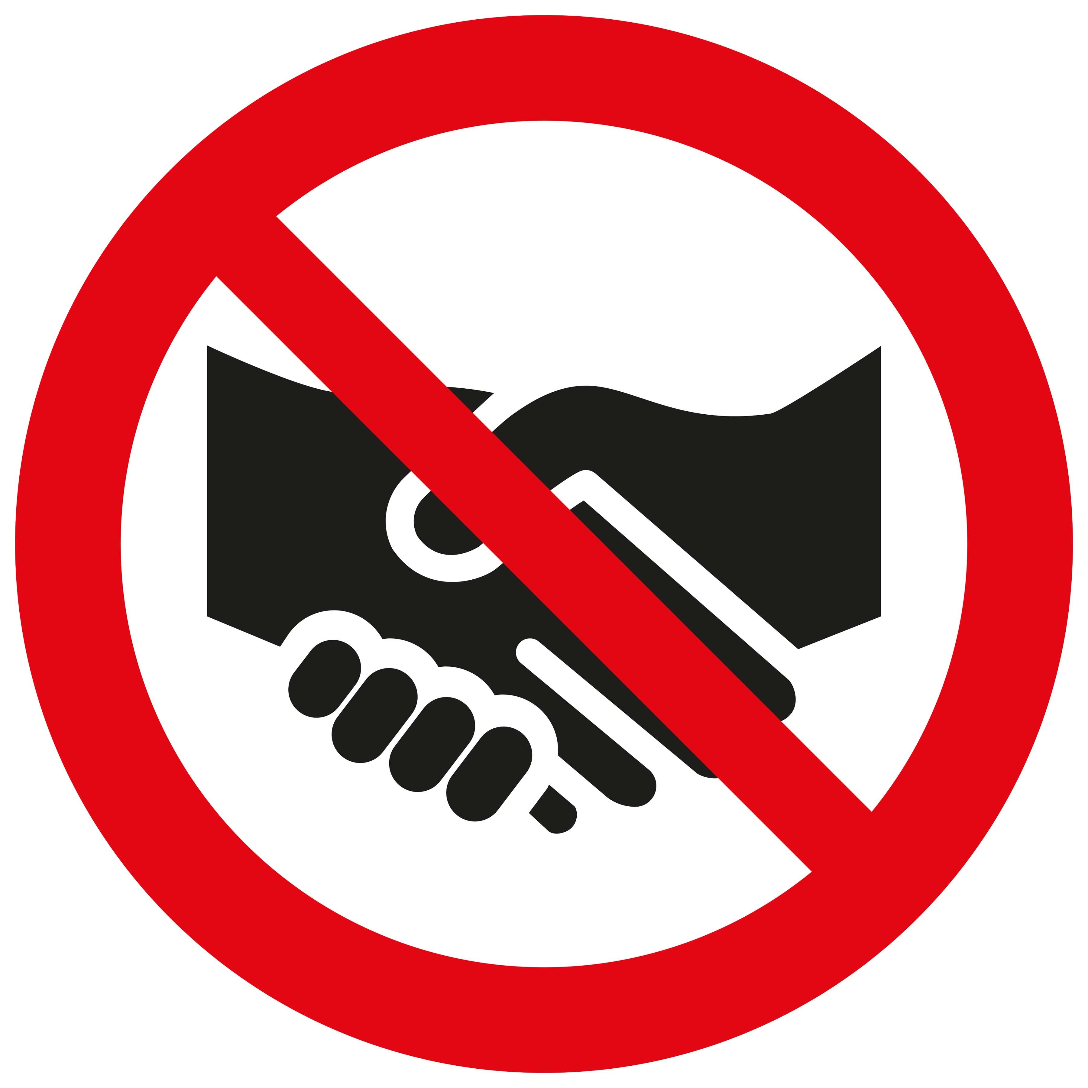 Bord Wij geven u geen hand - We do not shake hands with you - Nous ne te serrons pas la main - Wir geben Ihnen nicht die Hand - RIVM COVID19 COVID-19 corona virus