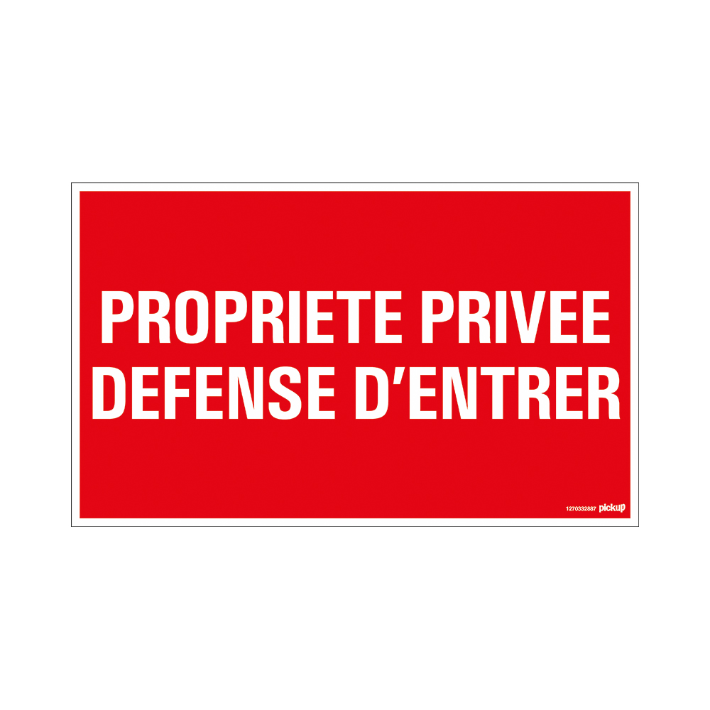 Bord 330x200 mm - Propr. privee Defense d'entree