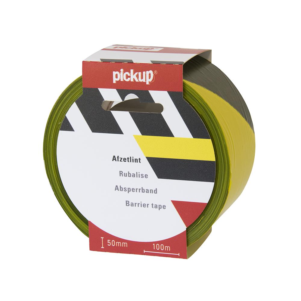 Afzetlint geel zwart - 100 mtr x 5 cm