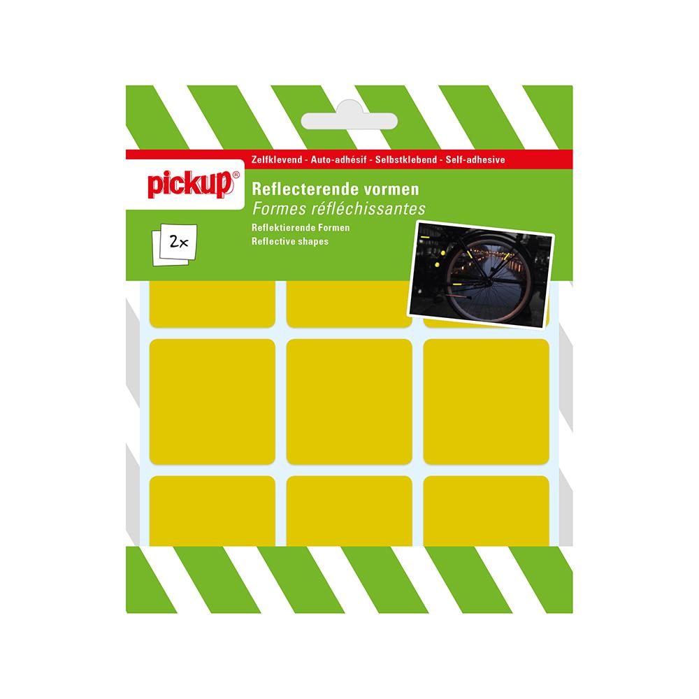Pickup reflecterende vorm geel - 4,5x4,5 cm