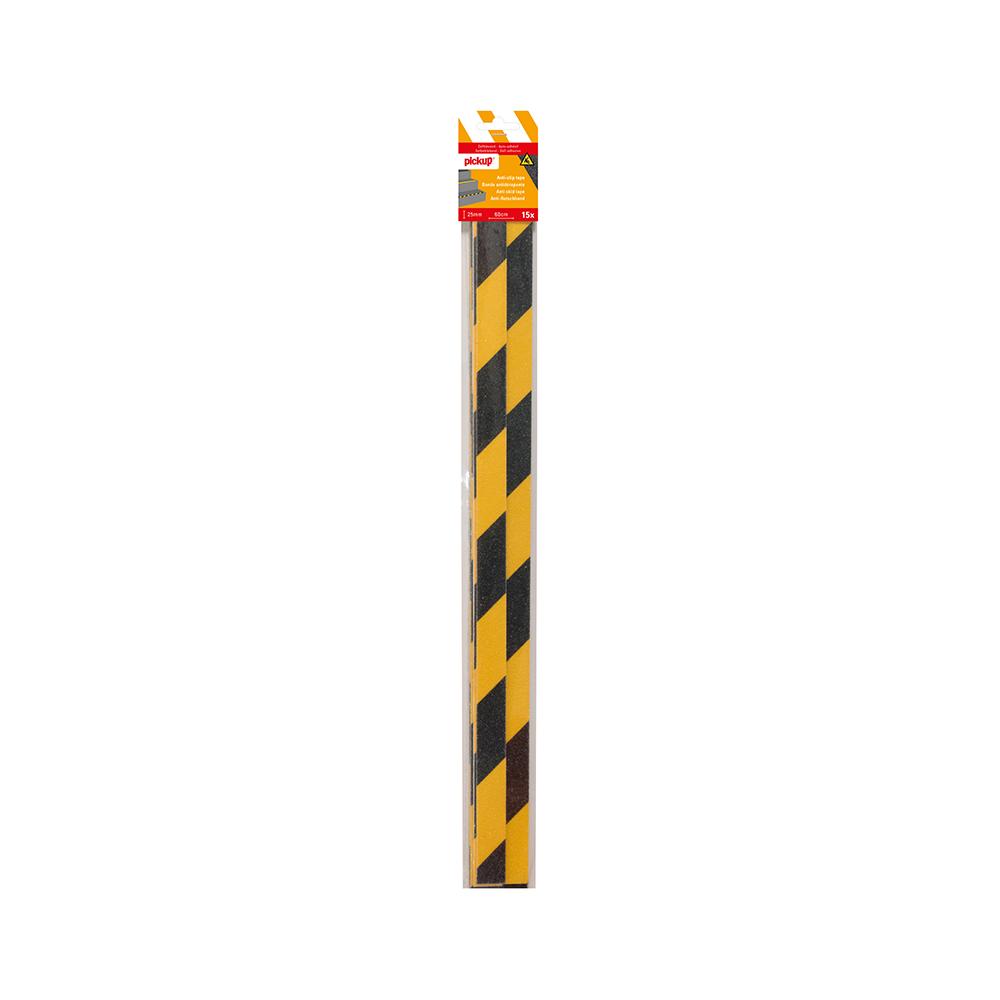 Antislip tape geel zwart - 15 strips 2,5 x 60 cm