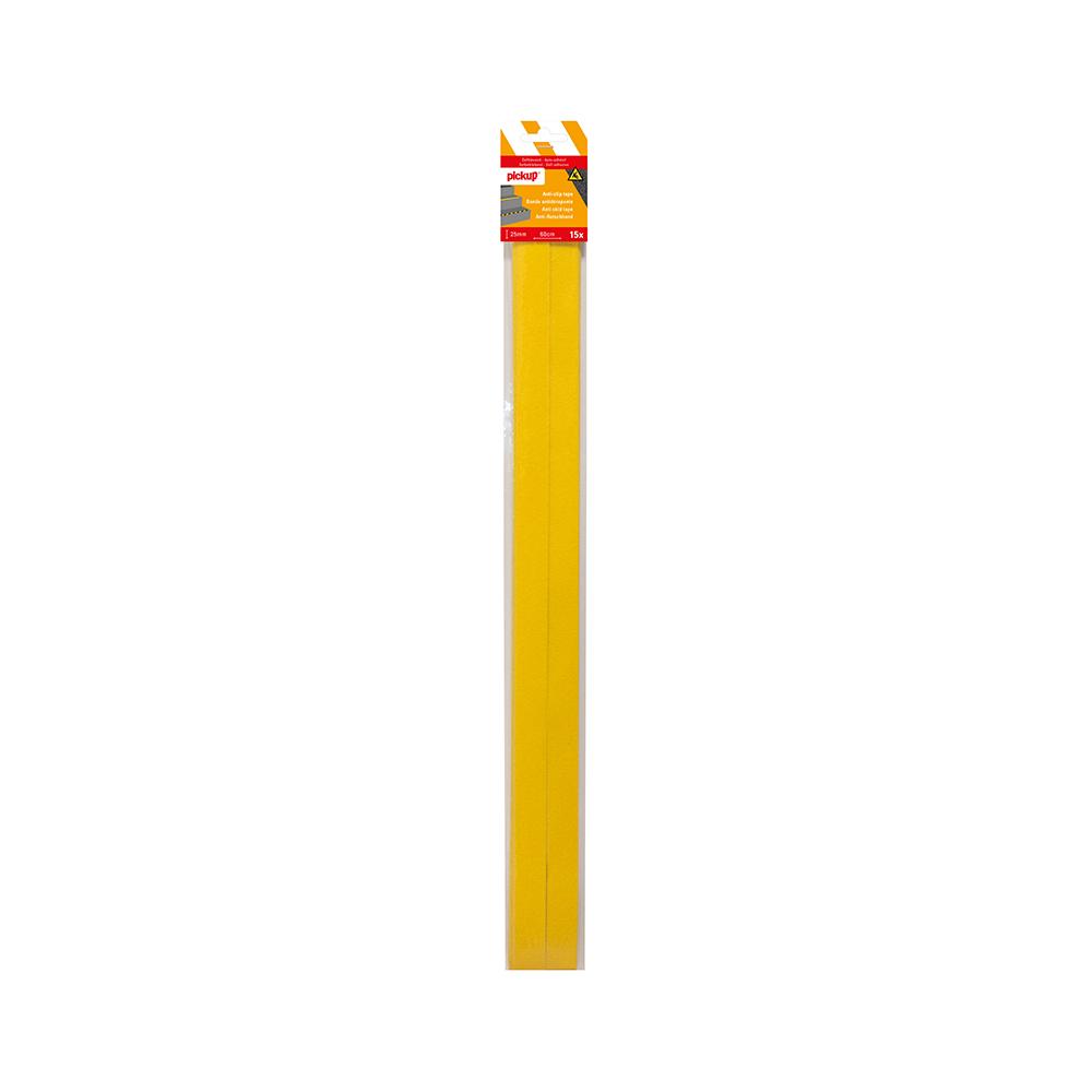 Antislip tape geel - 15 strips 2,5 x 60 cm