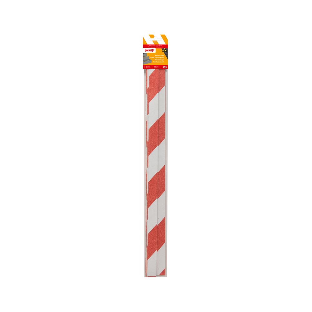 Antislip tape rood wit - 15 strips 2,5 x 60 cm