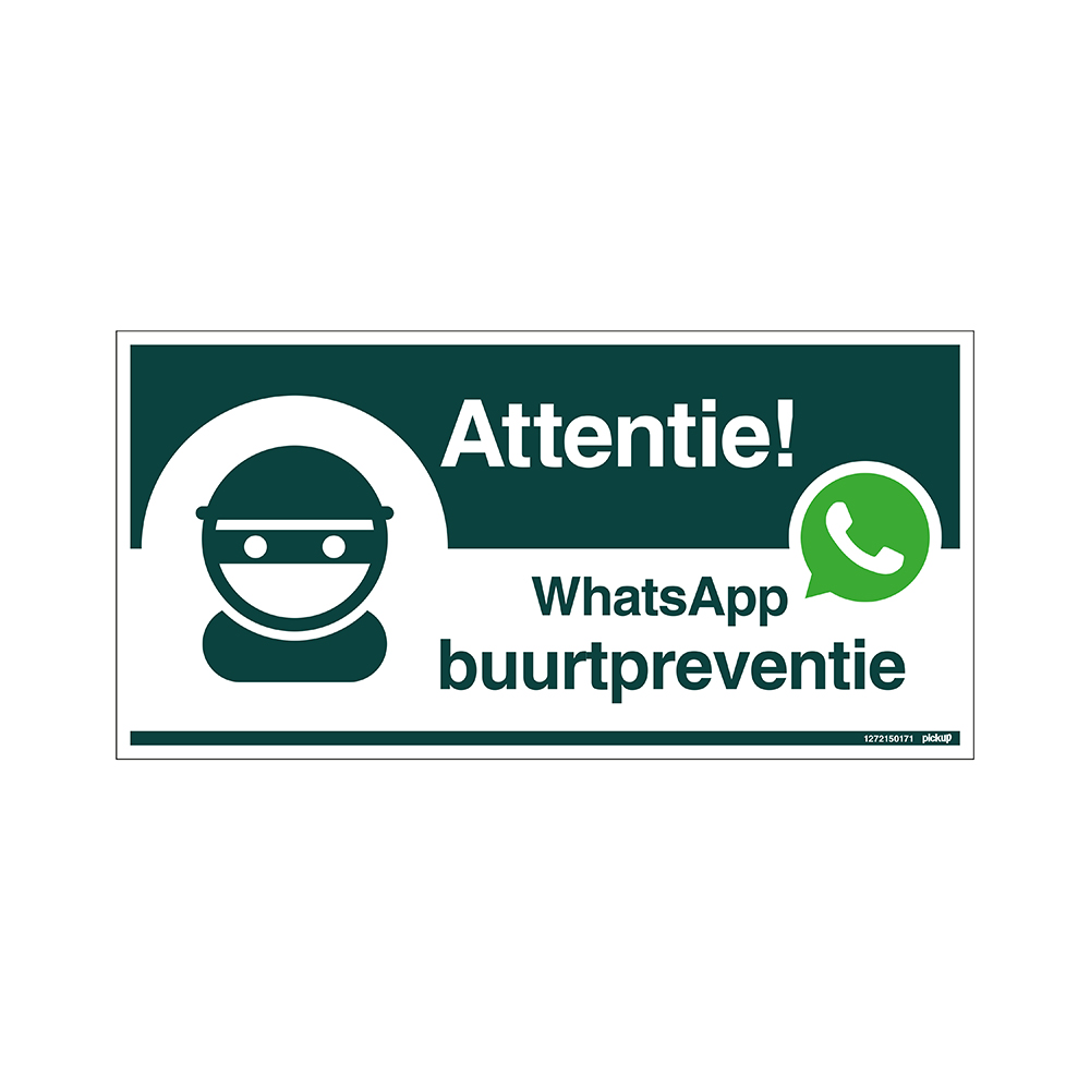 Bord 300x150 mm - WhatsApp Buurtpreventie