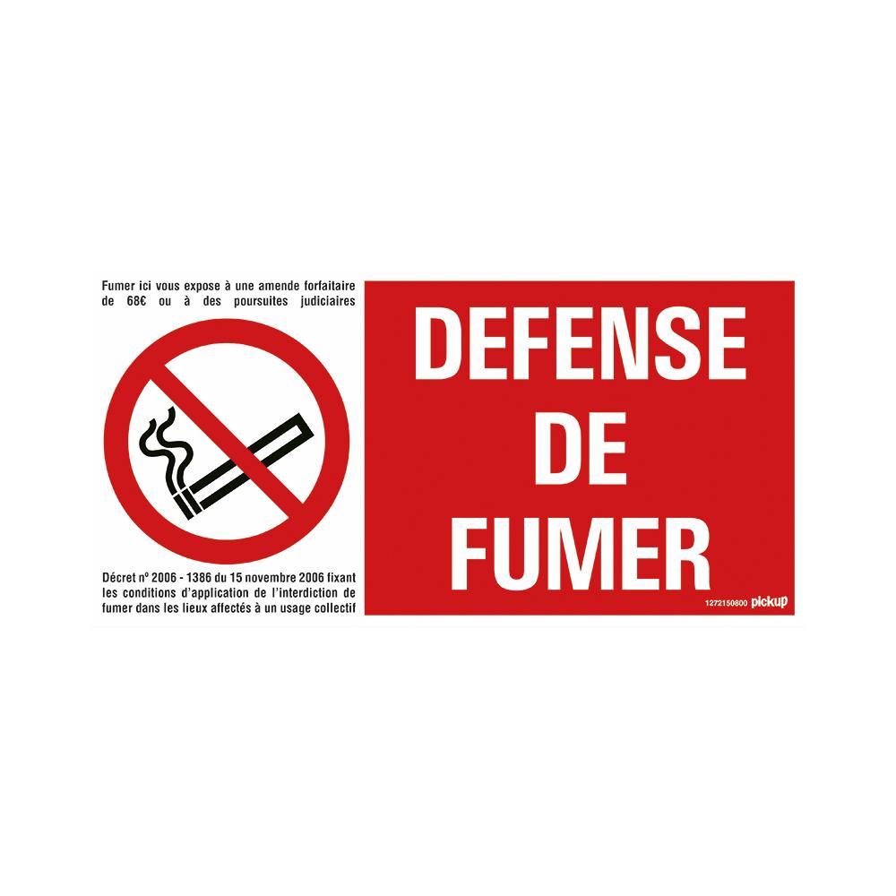 Pickup bord panneau 30x15 cm - Defense de fumer