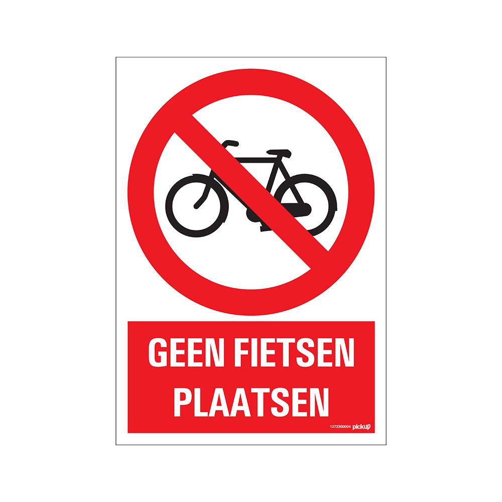 Bord 23x33cm Combinatie - Geen fietsen plaatsen