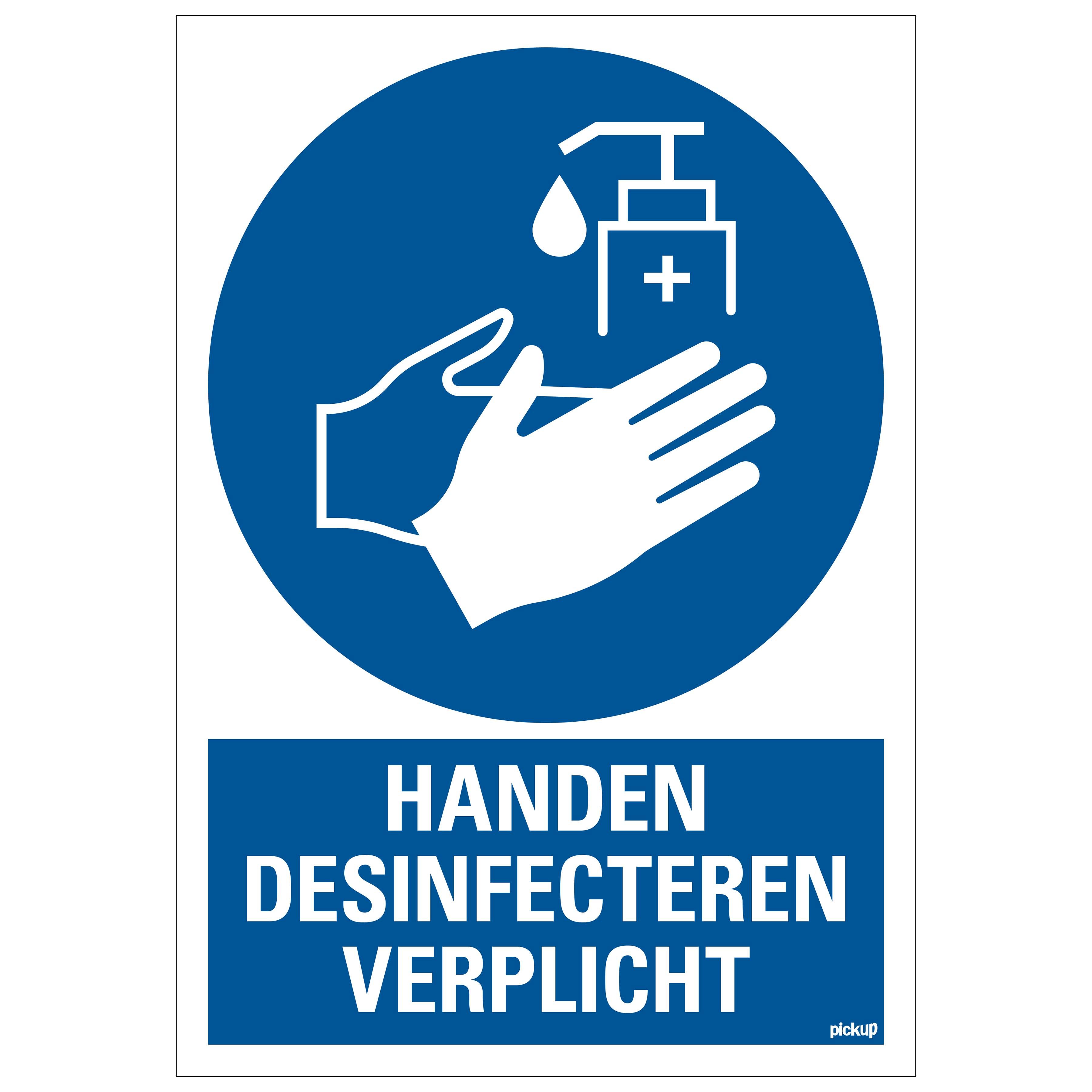 Bord Handen desinfecteren verplicht - Disinfect hands required - Désinfection des mains requise - Hände desinfizieren erforderlich - social distance COVID19 COVID-19 corona virus