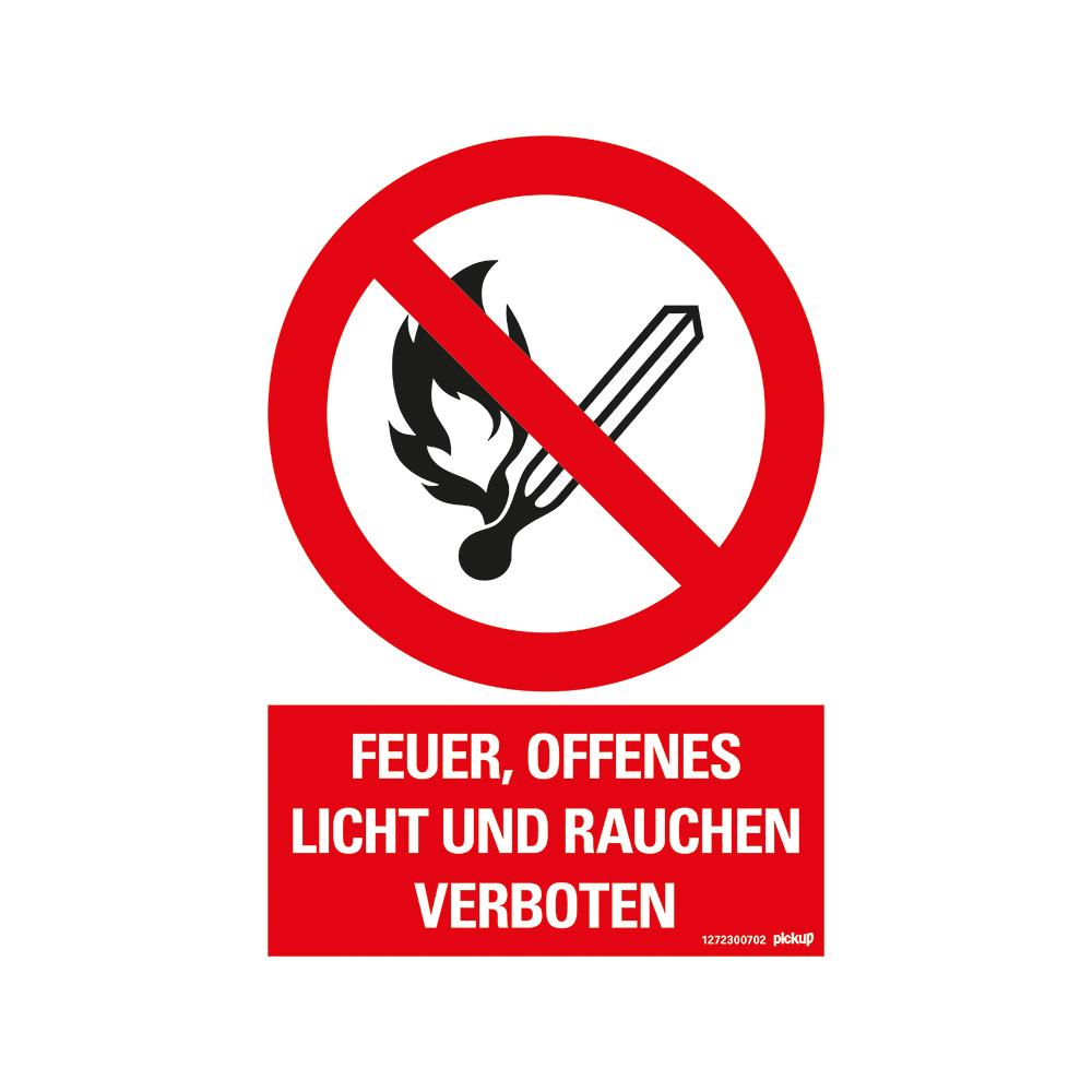 Kunststoff Schild 33 x 23 cm FEUER OFFENES LICHT UND RAUCHEN VERBOTEN