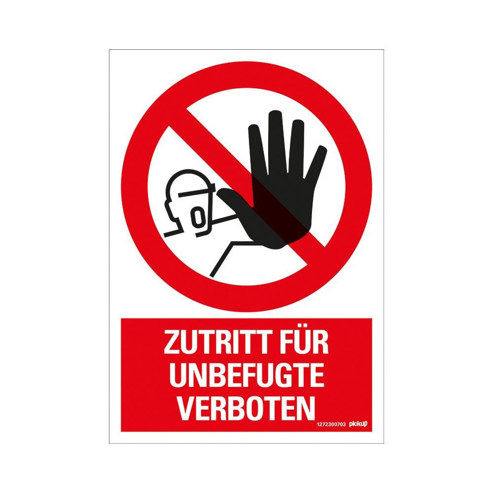Kunststoff Schild 33 x 23 cm ZUTRITT FUR UNBEFÜGTE VERBOTEN