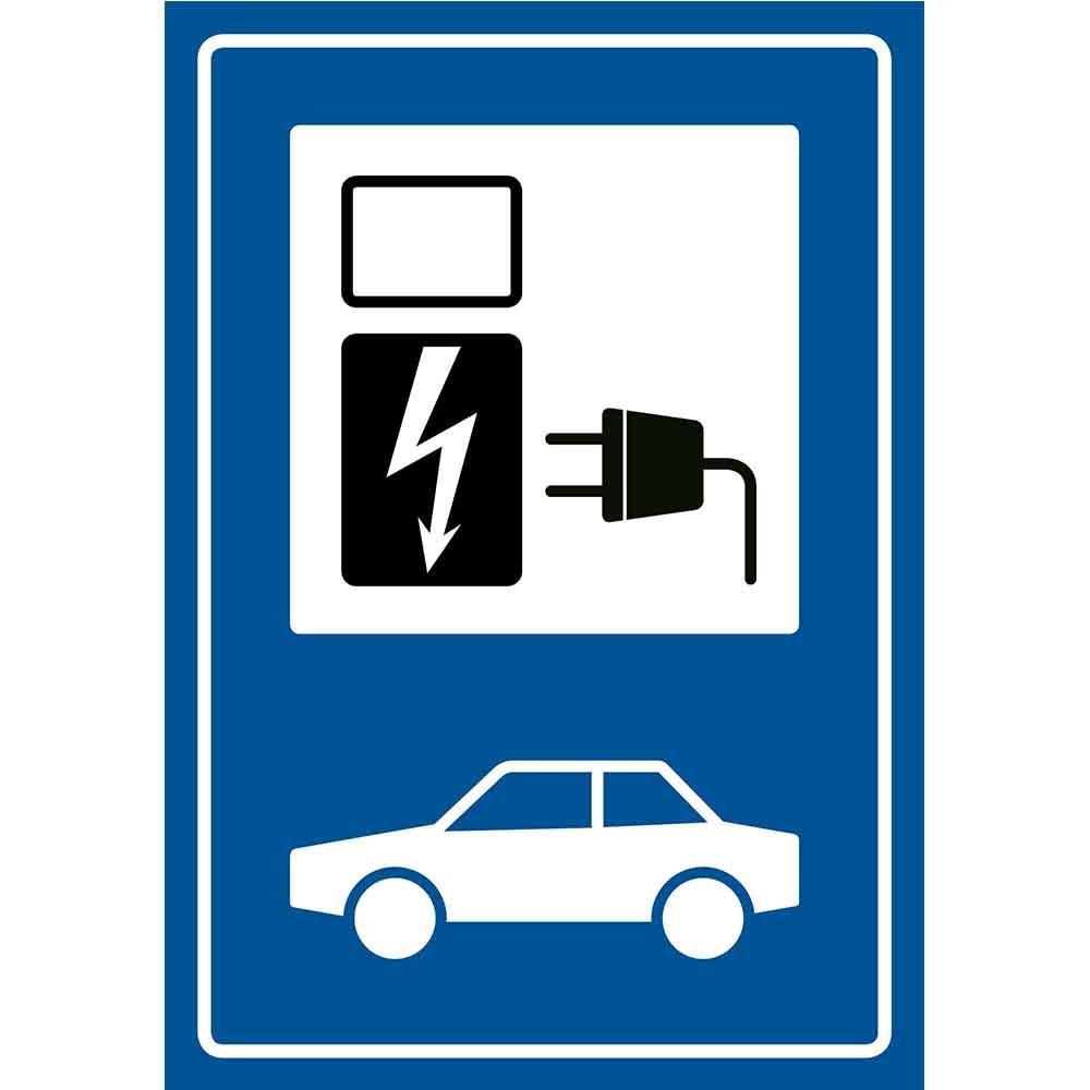 Pickup bord electrische auto oplaadpunt - oplaadstation blauw