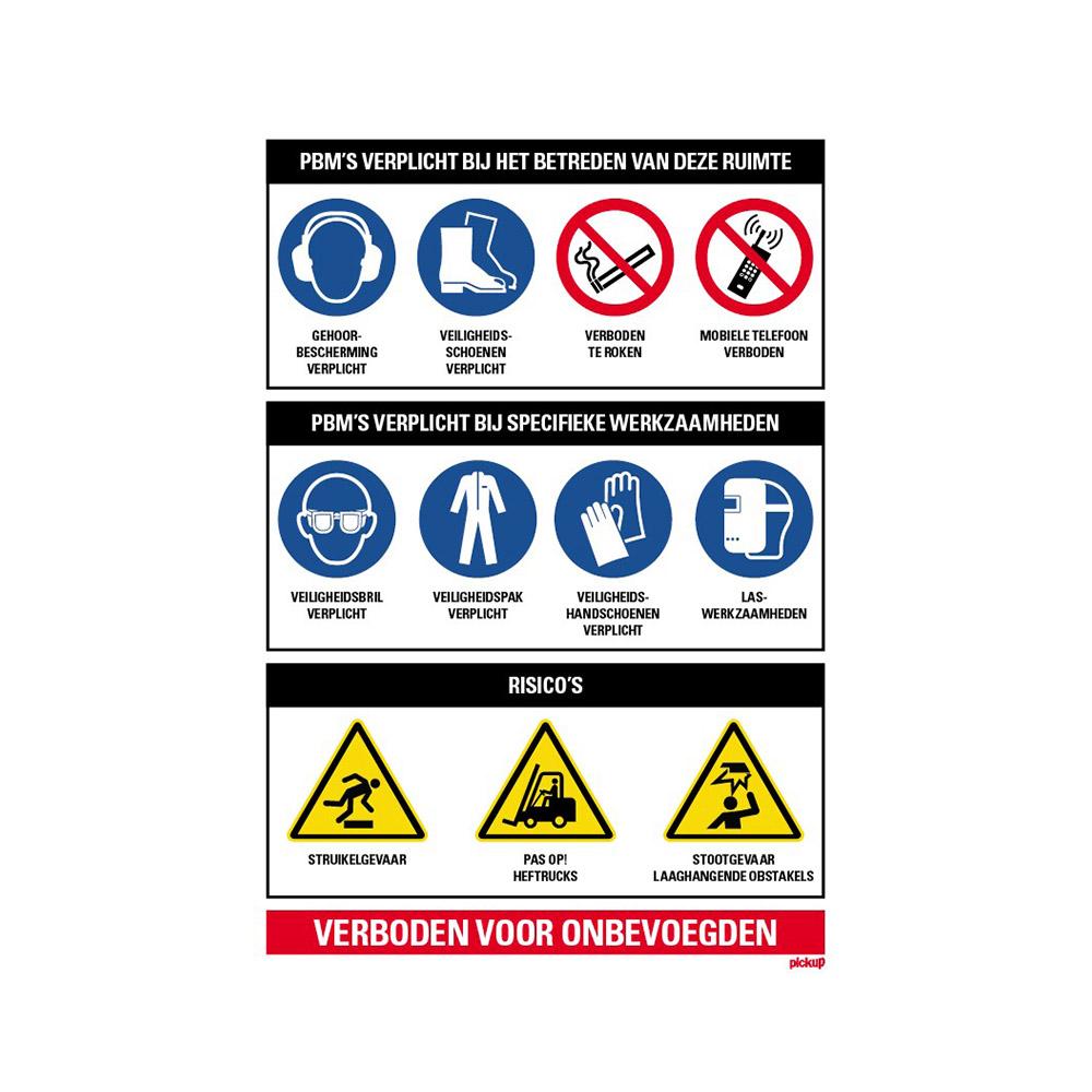 Pickup  PBM Persoonlijke beschermingsmiddelen bij betreden van deze ruimte