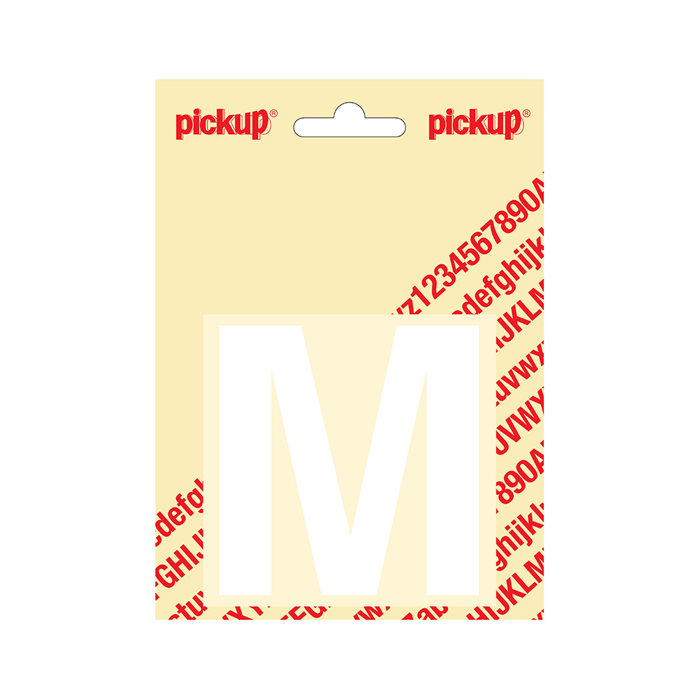 Pickup plakletter Helvetica 80 mm - wit M