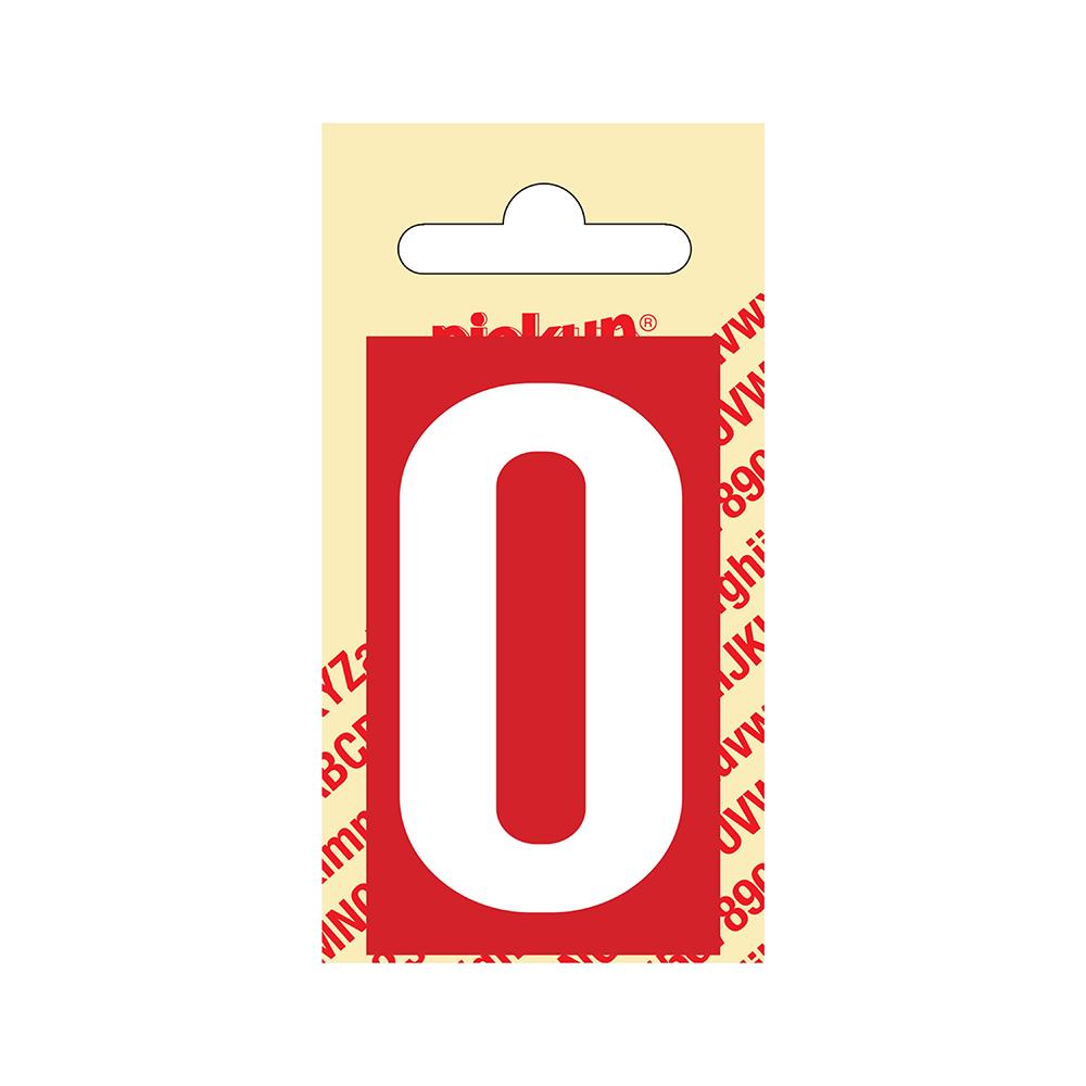 Pickup Plakcijfer kunststof 60 mm - rood met wit 0 Nobel mono bordje