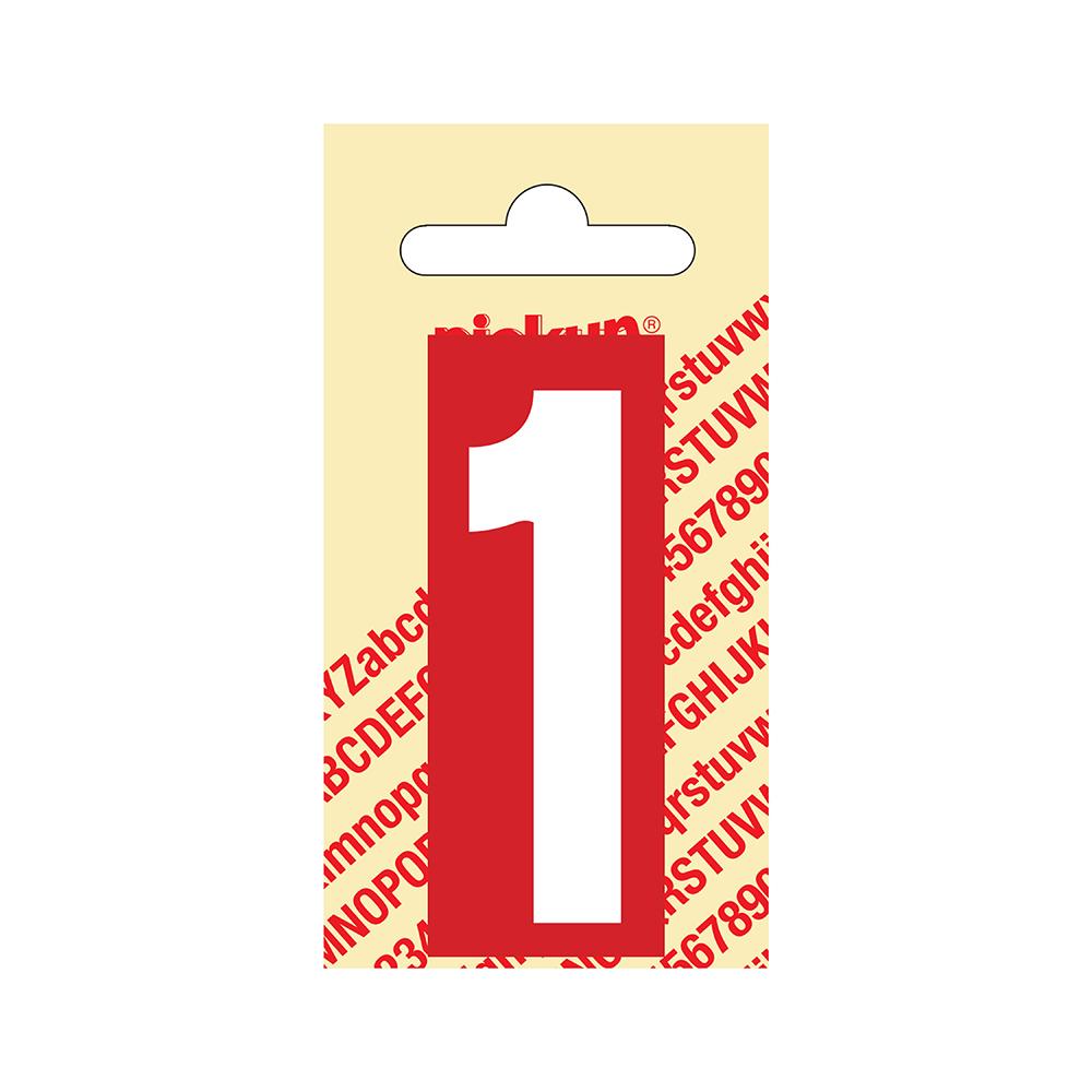Pickup Plakcijfer kunststof 60 mm - rood met wit 1 Nobel mono bordje