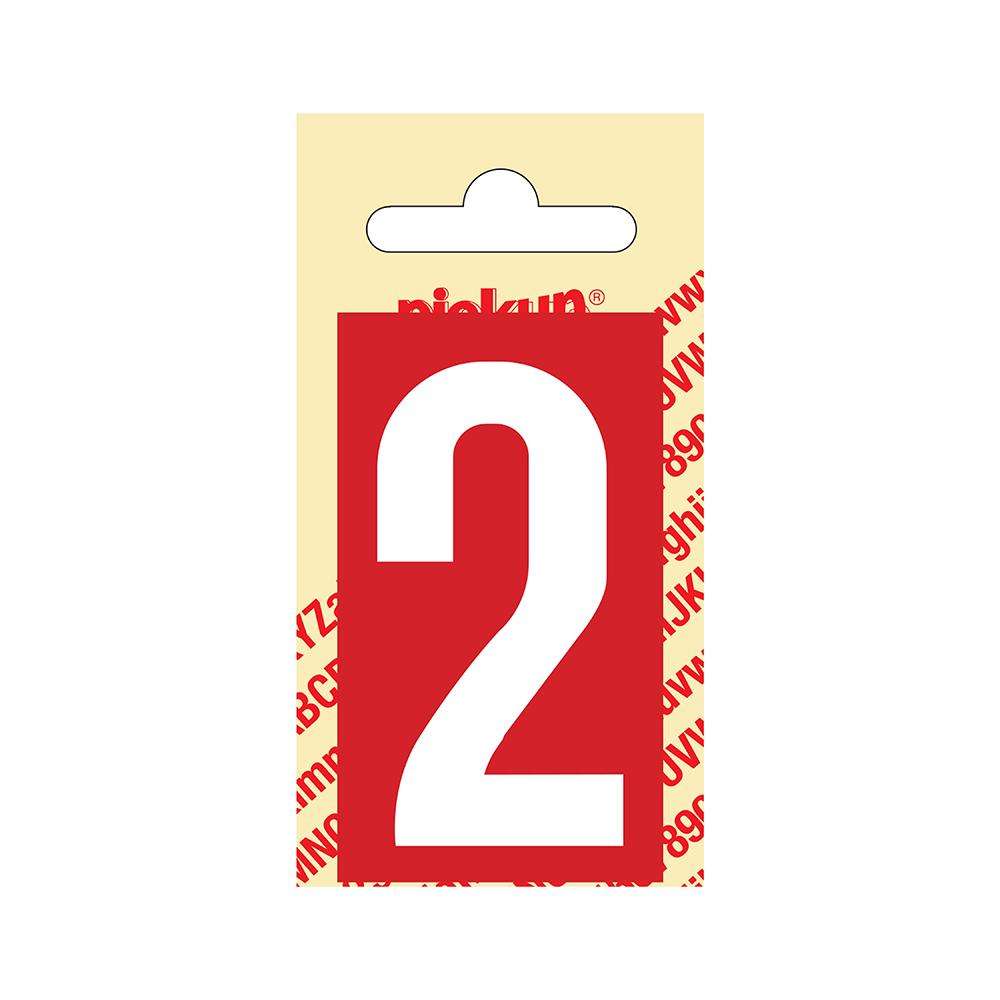 Pickup Plakcijfer kunststof 60 mm - rood met wit 2 Nobel mono bordje