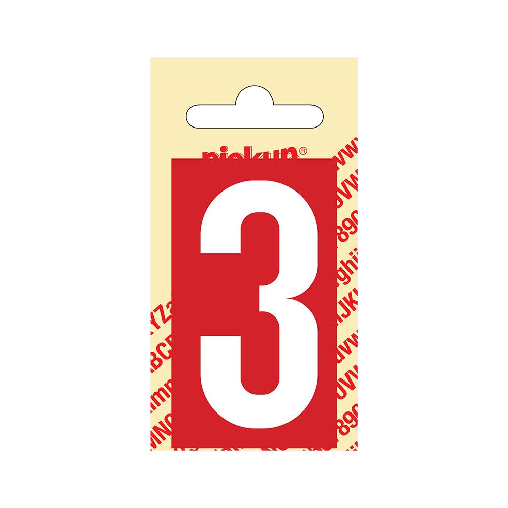 Pickup Plakcijfer kunststof 60 mm - rood met wit 3 Nobel mono bordje