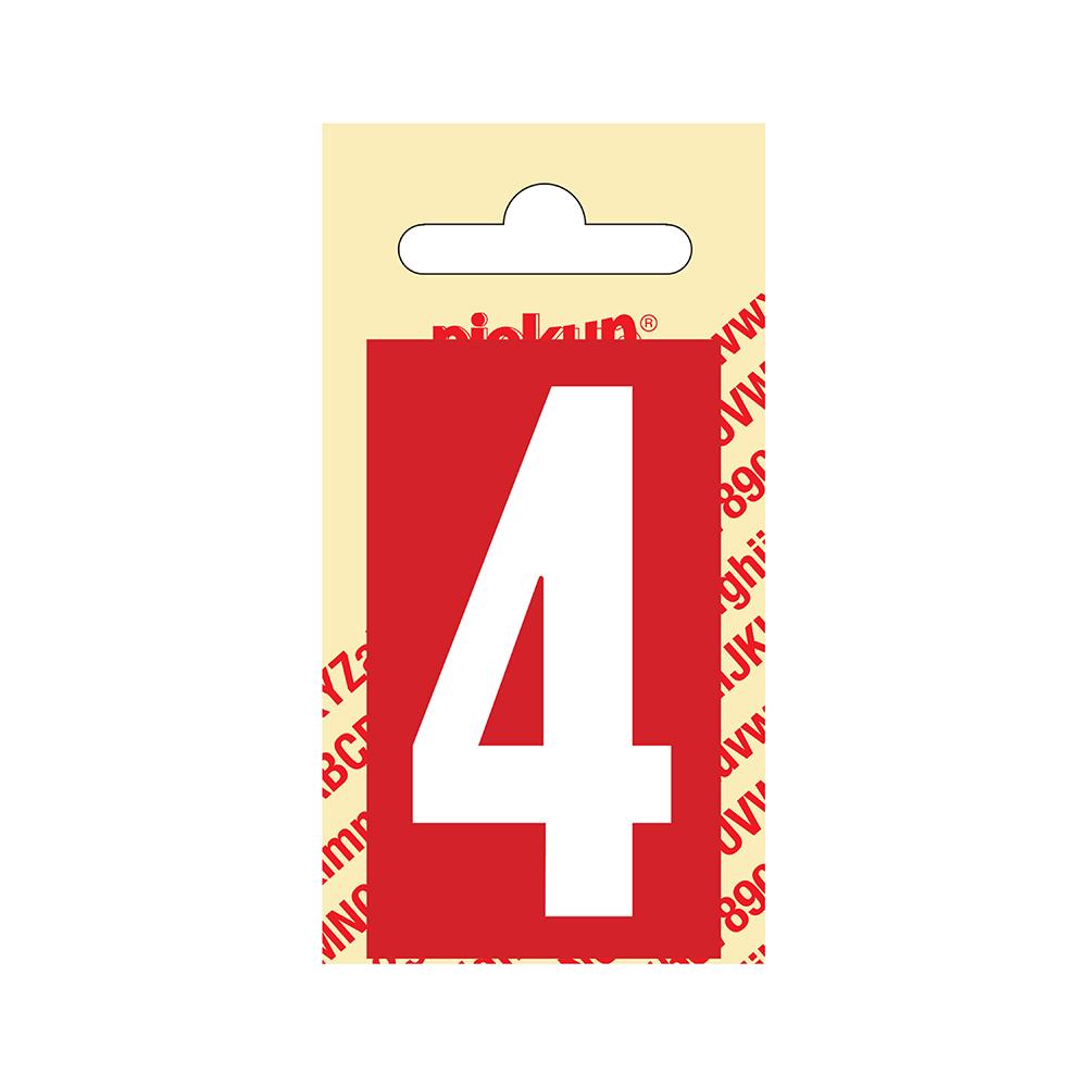 Pickup Plakcijfer kunststof 60 mm - rood met wit 4 Nobel mono bordje
