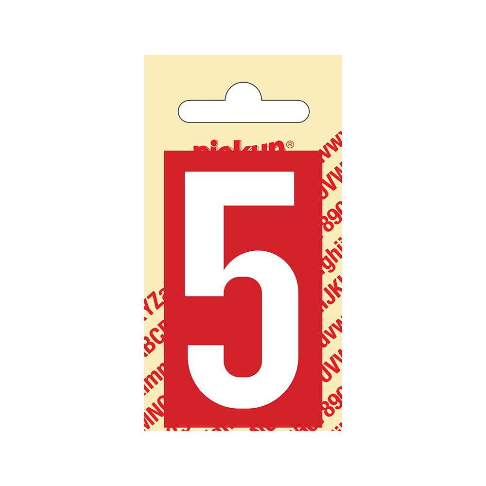 Pickup Plakcijfer kunststof 60 mm - rood met wit 5 Nobel mono bordje