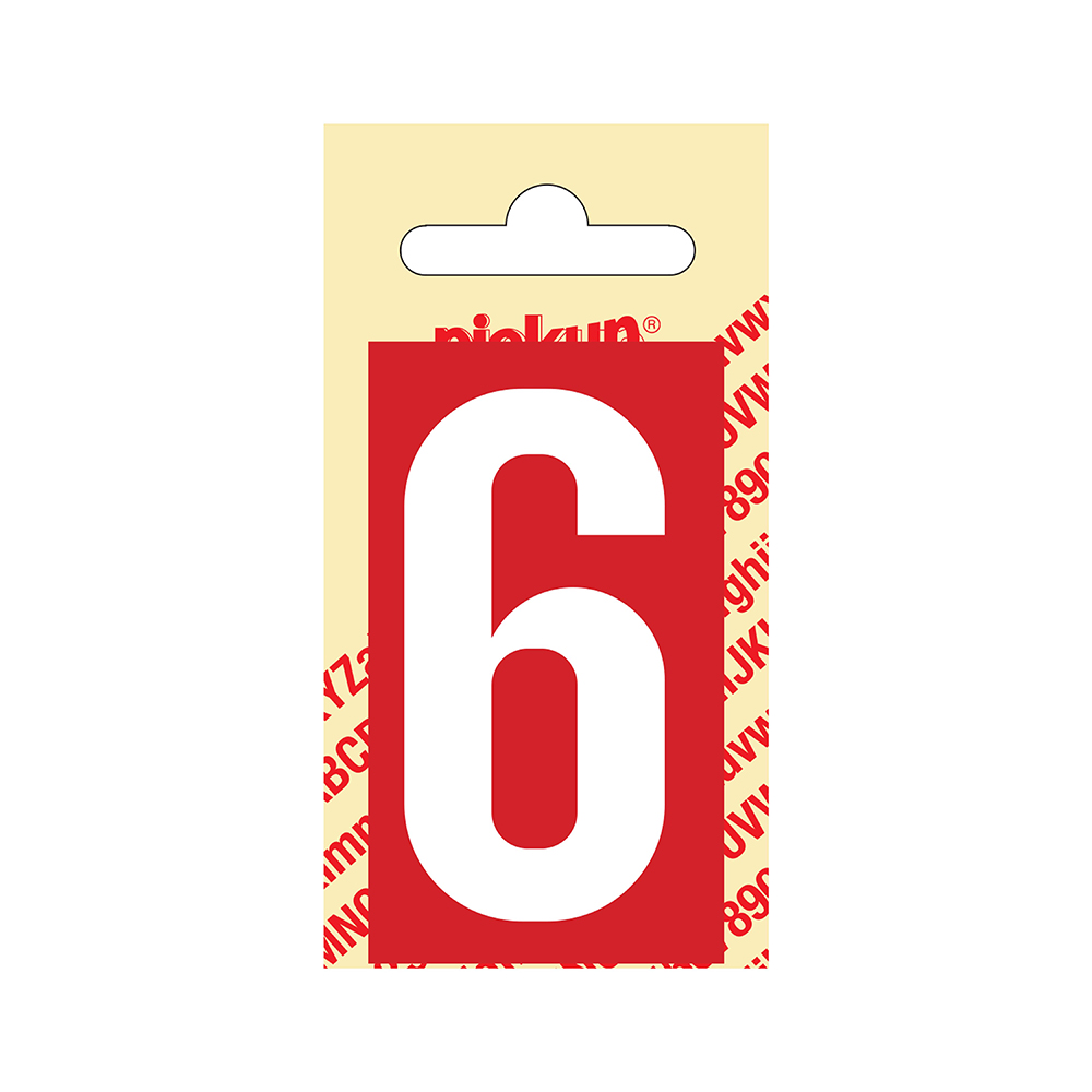 Pickup Plakcijfer kunststof 60 mm - rood met wit 6 Nobel mono bordje