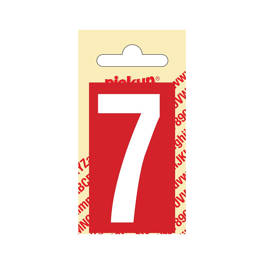 Pickup Plakcijfer kunststof 60 mm - rood met wit 7 Nobel mono bordje
