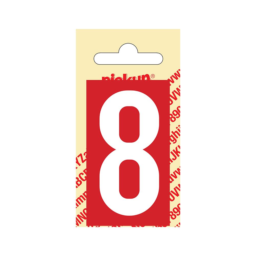 Pickup Plakcijfer kunststof 60 mm - rood met wit 8 Nobel mono bordje