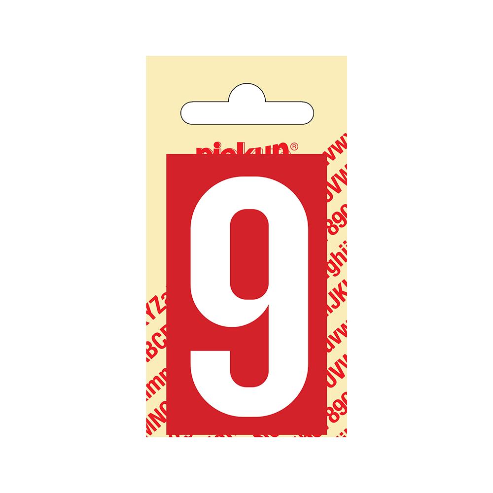 Pickup Plakcijfer kunststof 60 mm - rood met wit 9 Nobel mono bordje
