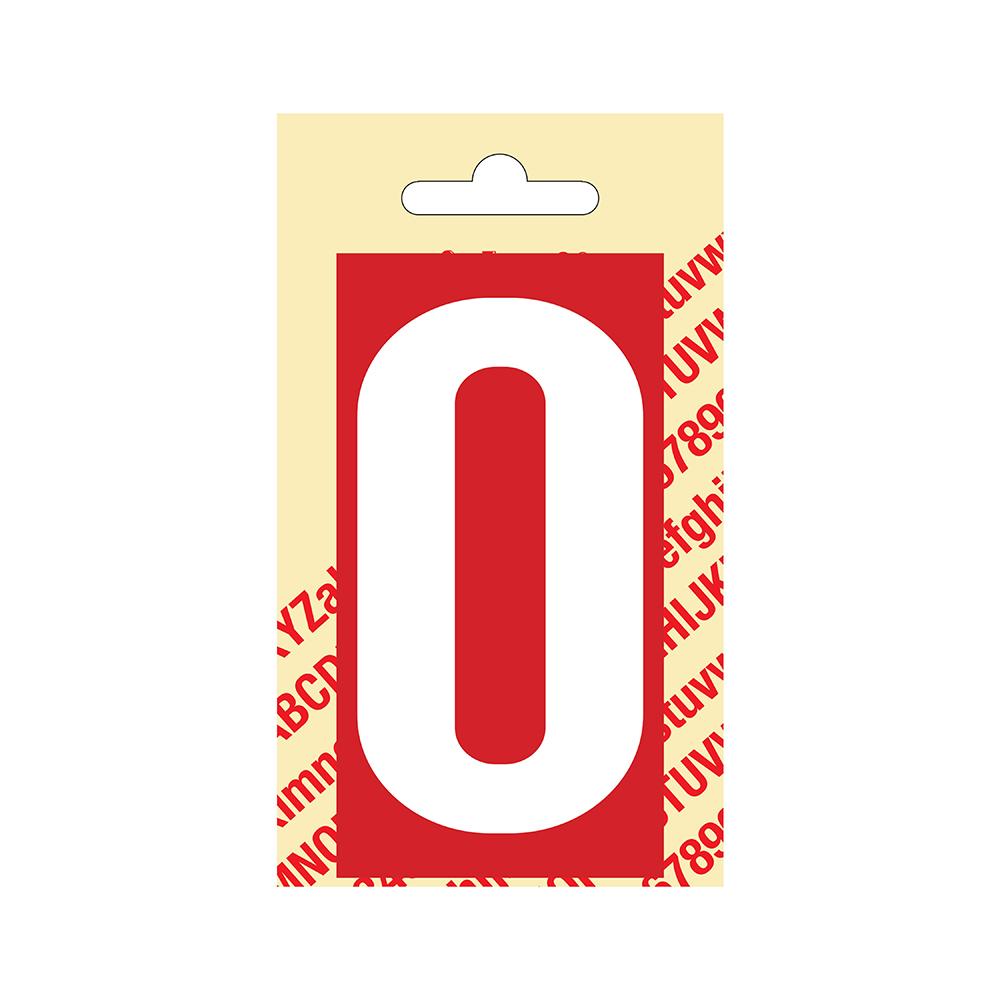 Pickup Plakcijfer kunststof 90 mm - rood met wit 0 Nobel mono bordje