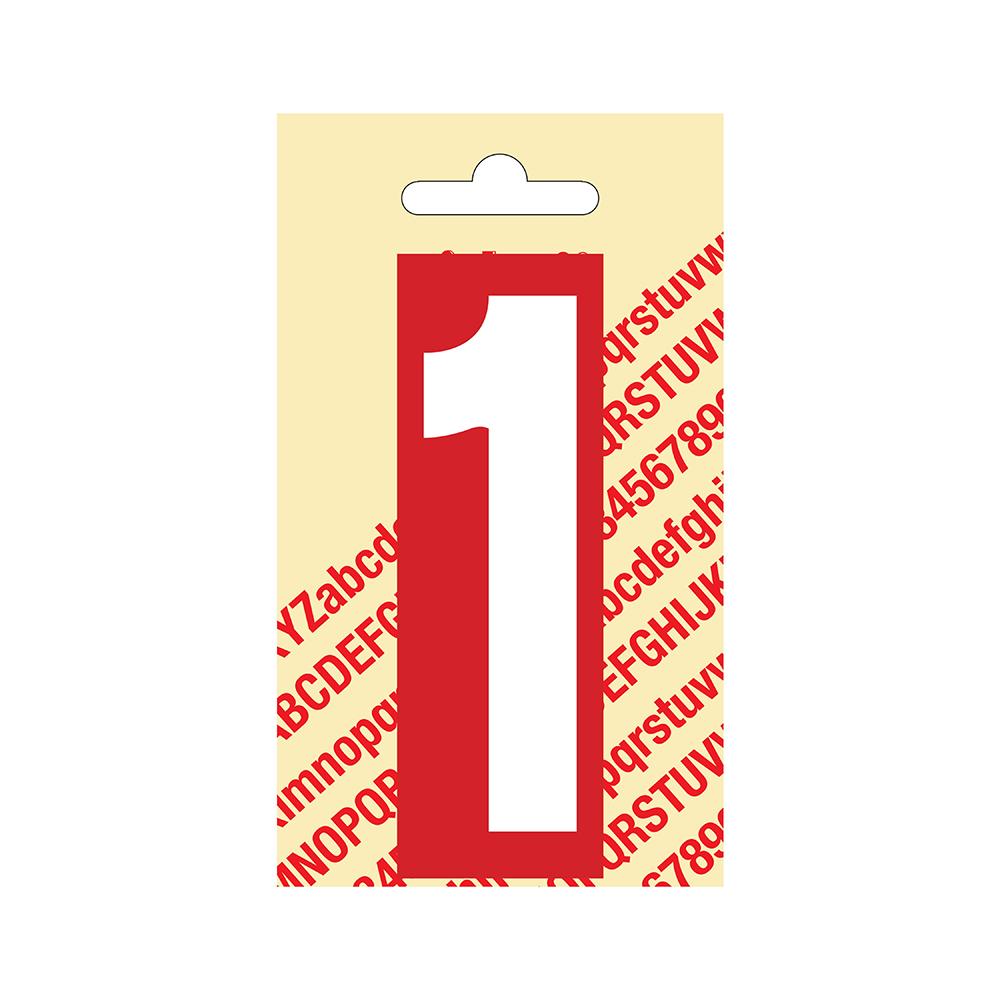 Pickup Plakcijfer kunststof 90 mm - rood met wit 1 Nobel mono bordje