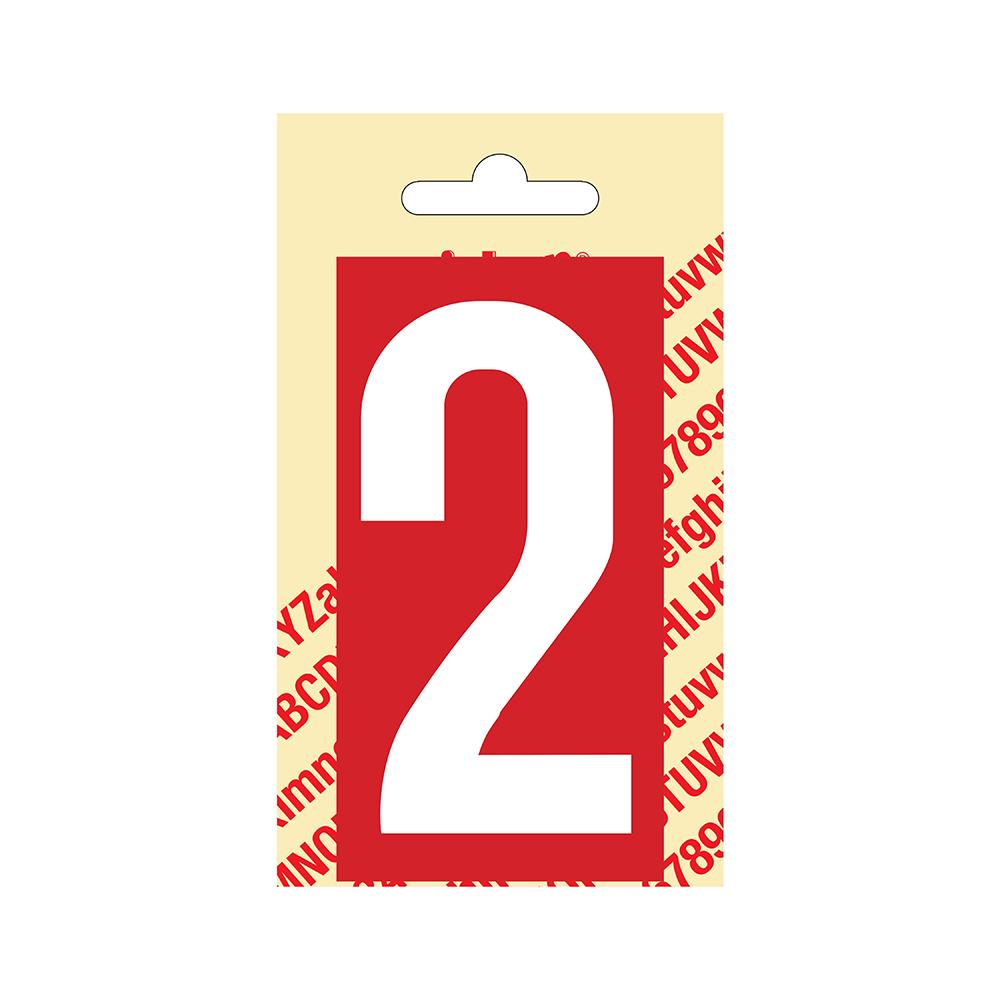 Pickup Plakcijfer kunststof 90 mm - rood met wit 2 Nobel mono bordje