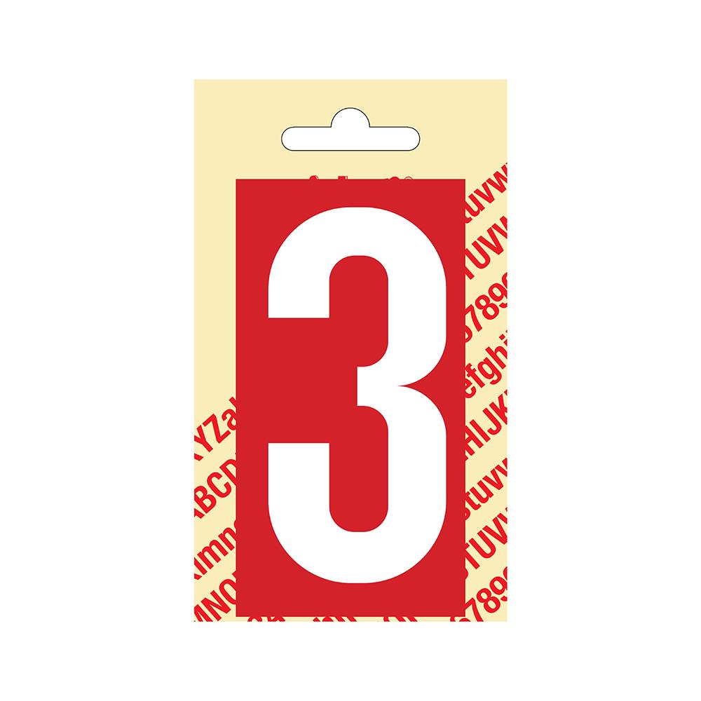 Pickup Plakcijfer kunststof 90 mm - rood met wit 3 Nobel mono bordje