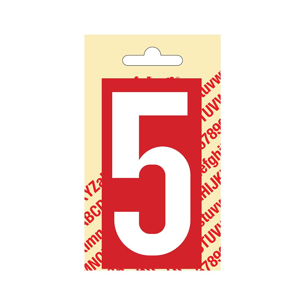 Pickup Plakcijfer kunststof 90 mm - rood met wit 5 Nobel mono bordje