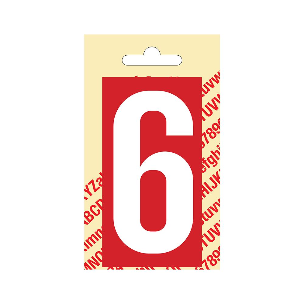 Pickup Plakcijfer kunststof 90 mm - rood met wit 6 Nobel mono bordje