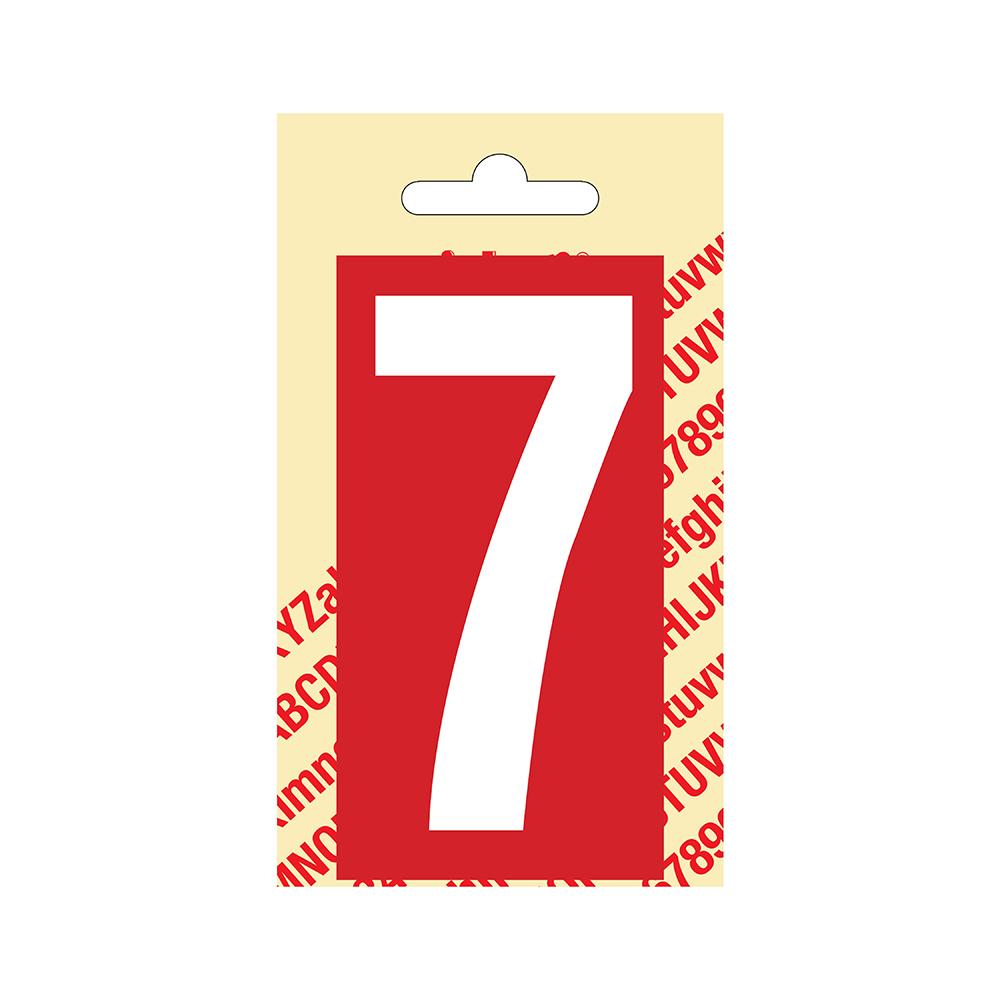 Pickup Plakcijfer kunststof 90 mm - rood met wit 7 Nobel mono bordje