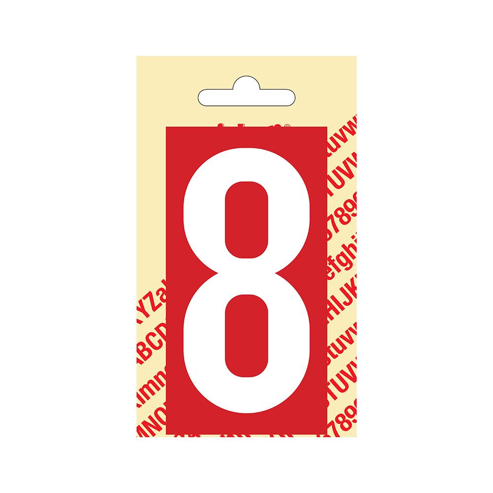 Pickup Plakcijfer kunststof 90 mm - rood met wit 8 Nobel mono bordje