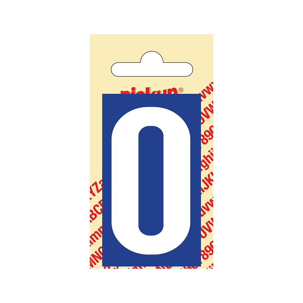 Pickup Plakcijfer kunststof 60 mm - blauw met wit 0 Nobel mono bordje