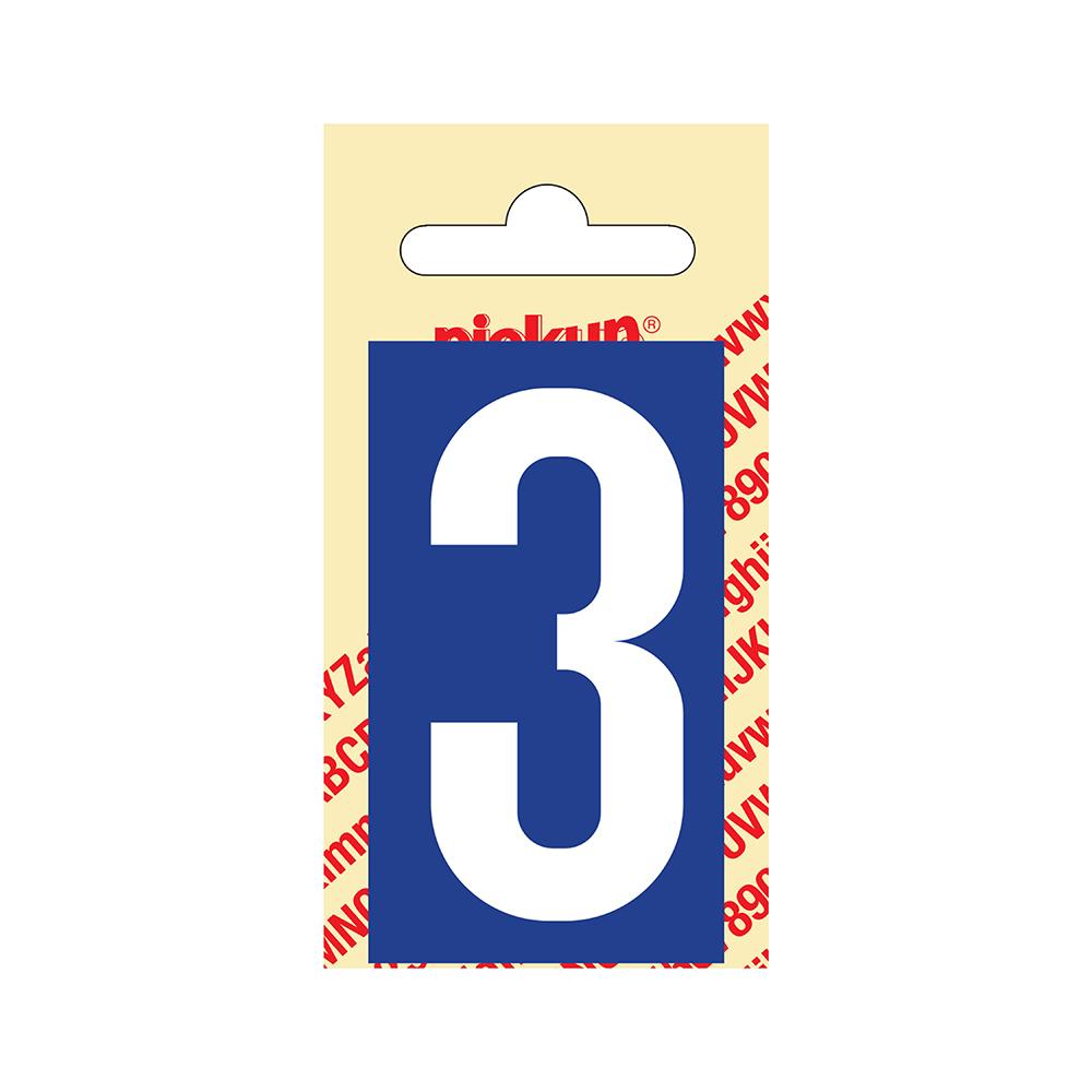 Pickup Plakcijfer kunststof 60 mm - blauw met wit 3 Nobel mono bordje