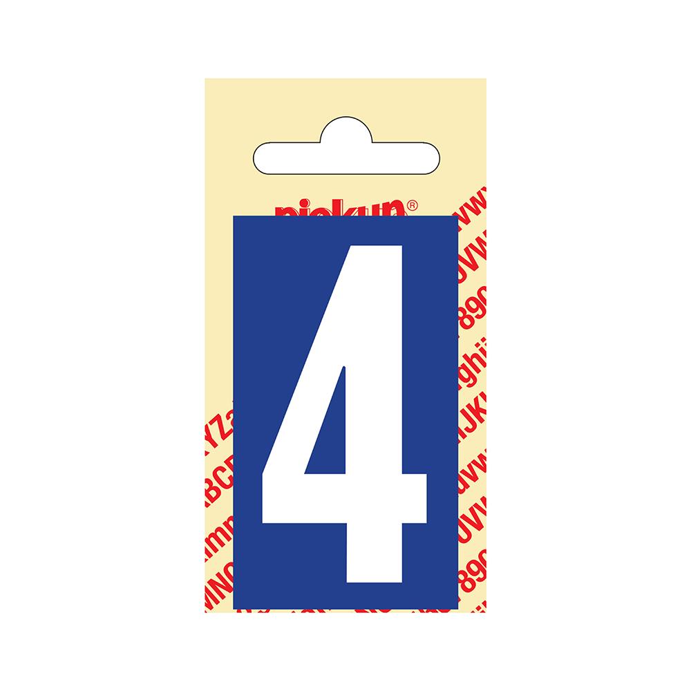 Pickup Plakcijfer kunststof 60 mm - blauw met wit 4 Nobel mono bordje