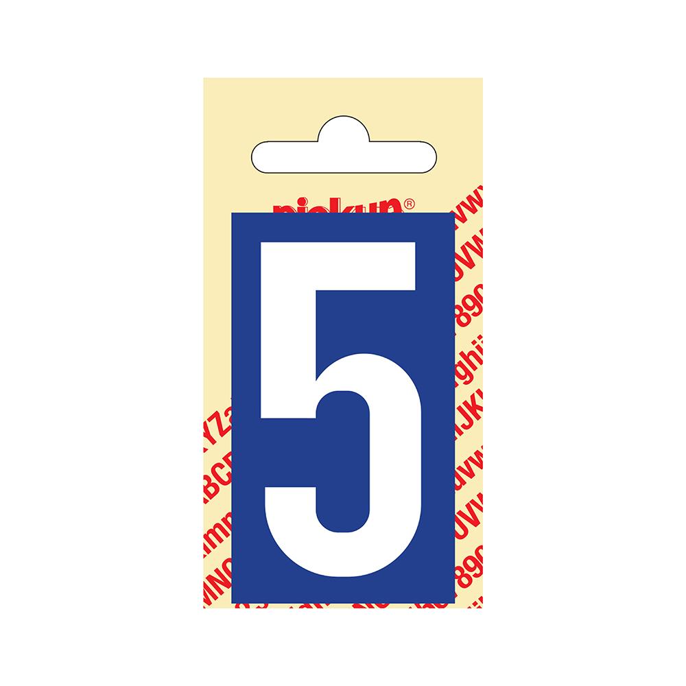 Pickup Plakcijfer kunststof 60 mm - blauw met wit 5 Nobel mono bordje