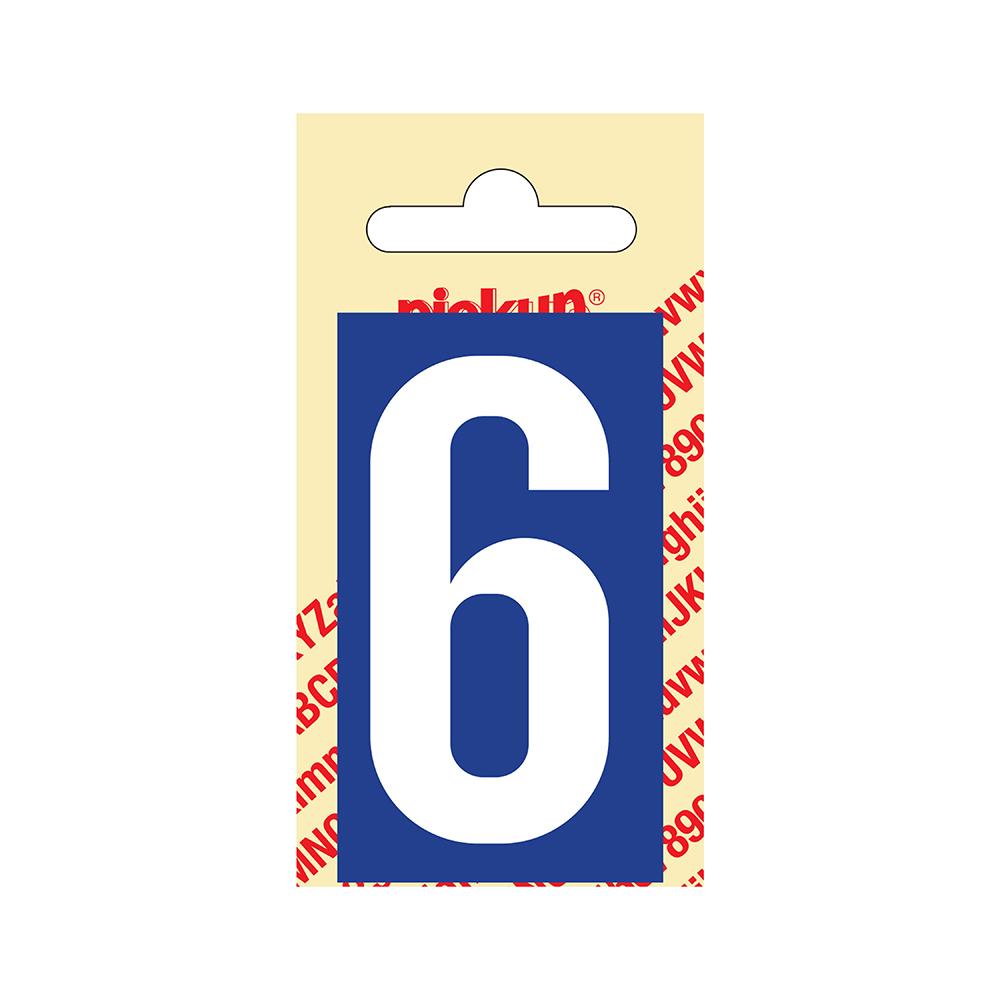 Pickup Plakcijfer kunststof 60 mm - blauw met wit 6 Nobel mono bordje