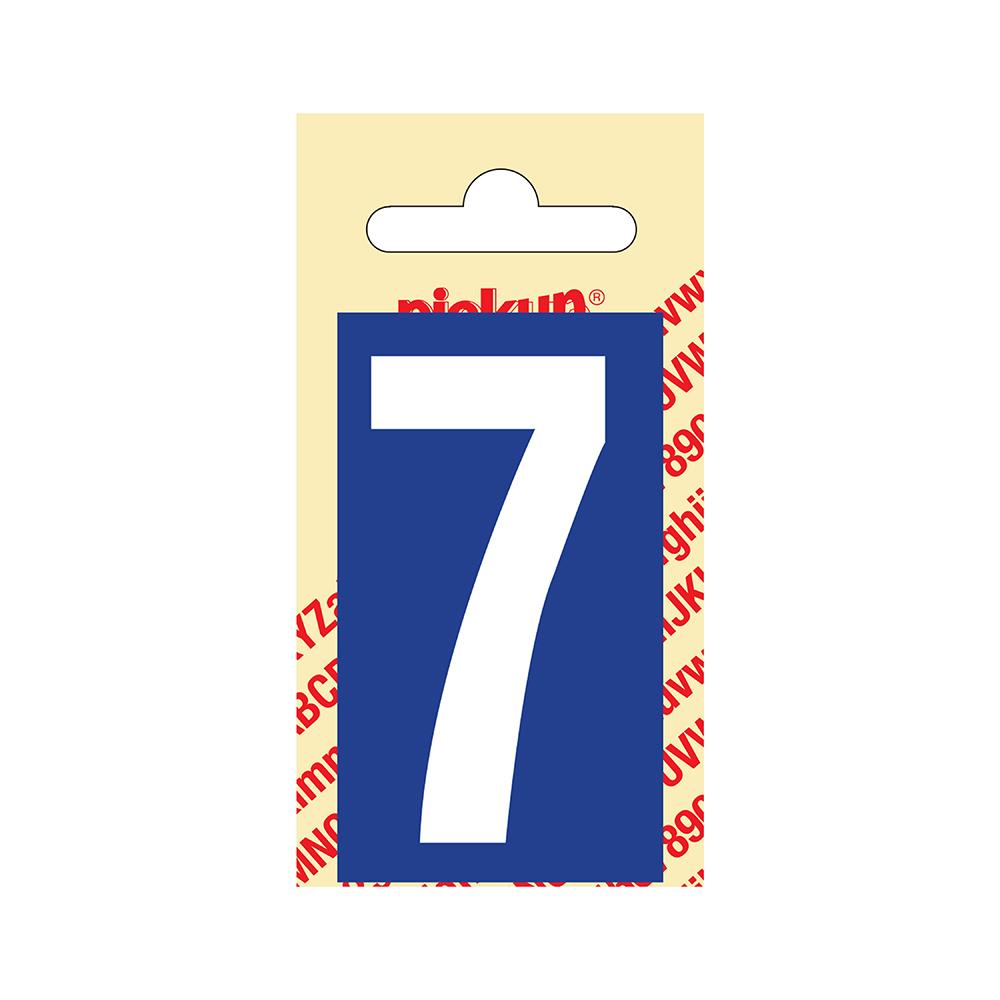 Pickup Plakcijfer kunststof 60 mm - blauw met wit 7 Nobel mono bordje