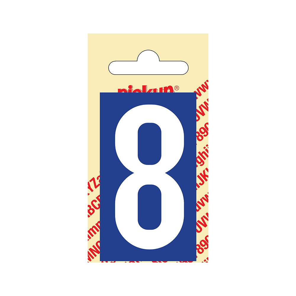 Pickup Plakcijfer kunststof 60 mm - blauw met wit 8 Nobel mono bordje