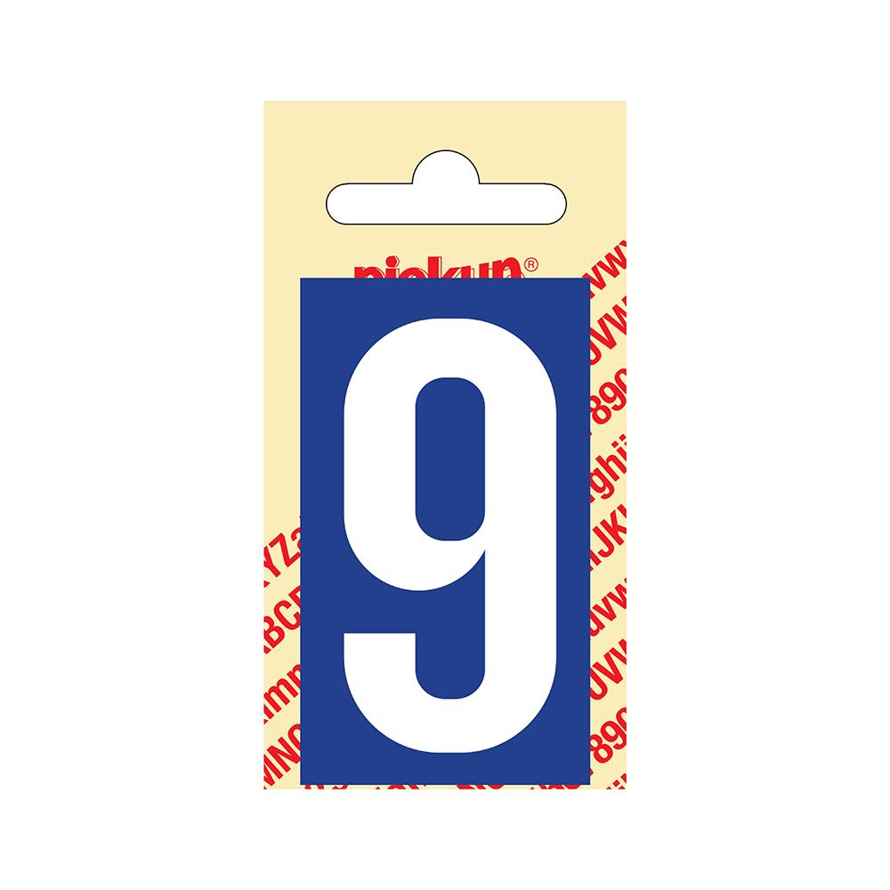 Pickup Plakcijfer kunststof 60 mm - blauw met wit 9 Nobel mono bordje