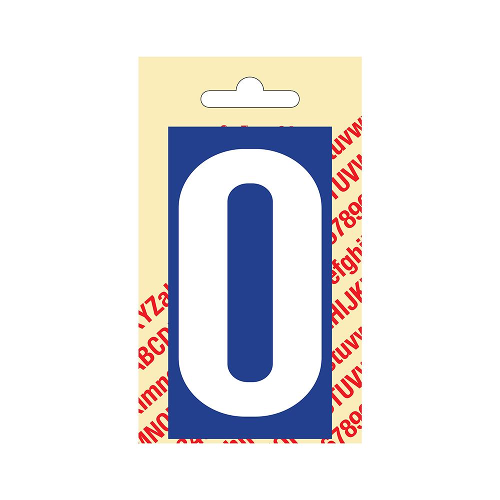 Pickup Plakcijfer kunststof 90 mm - blauw met wit 0 Nobel mono bordje