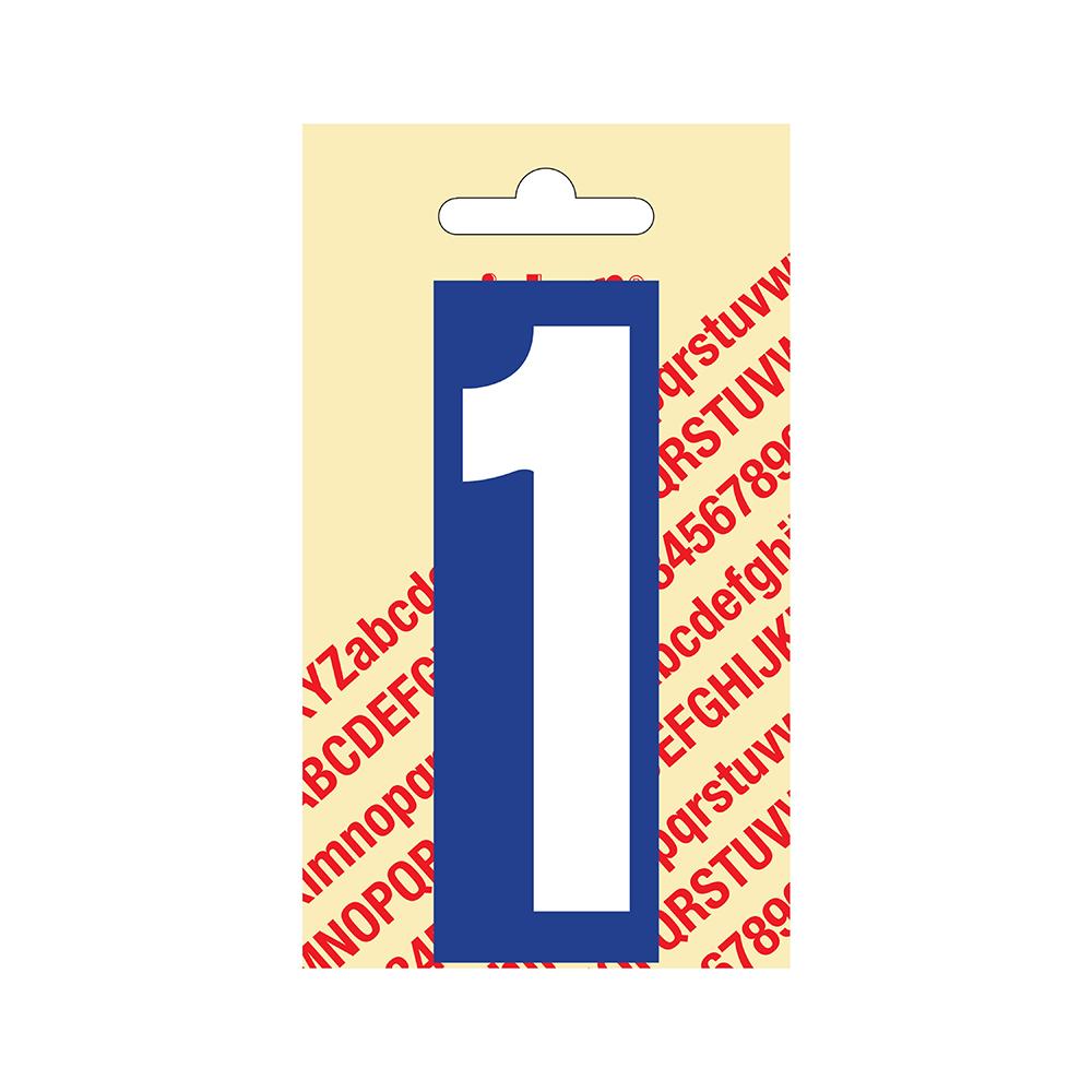 Pickup Plakcijfer kunststof 90 mm - blauw met wit 1 Nobel mono bordje